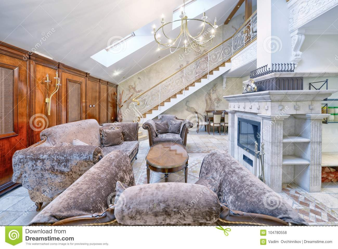 Living Room Interior In Modern House Stock Photo Image Of   Duplex House Living Room Design Stairs   Outside Stair   Railing   Dining   Sala   Duplex Lobby