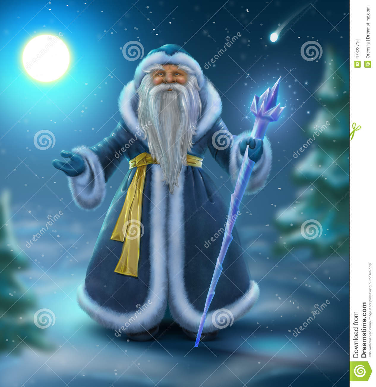 Russian Blue Santa Outdoors Stock Illustration Image