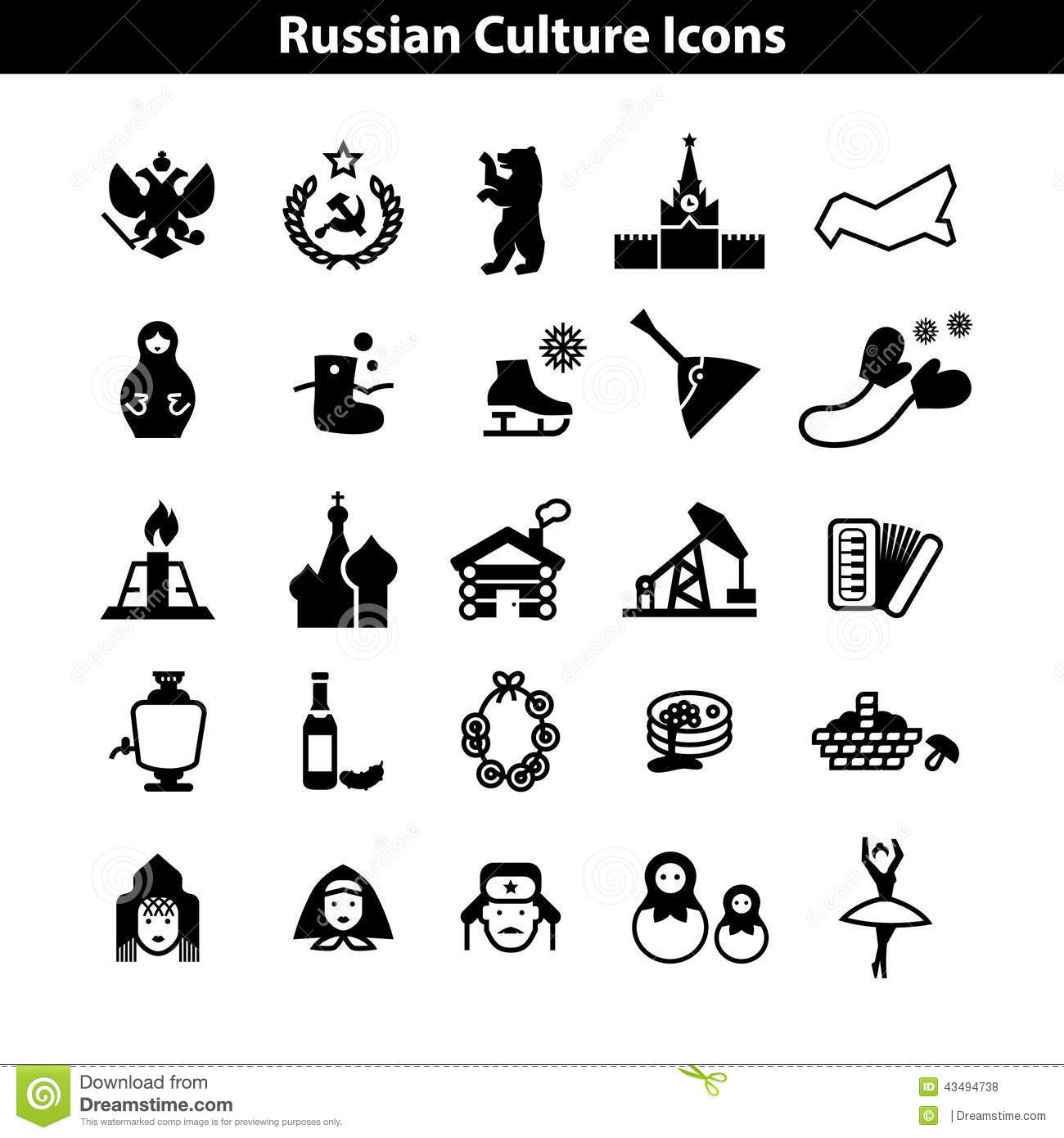 Russian Culture Icon Vector Set Eps Stock Vector
