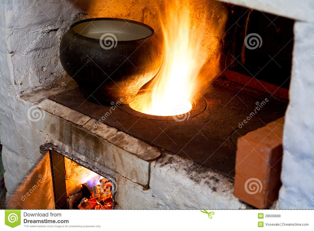 Russian Stove And Old Cast Iron Pot Royalty Free Stock