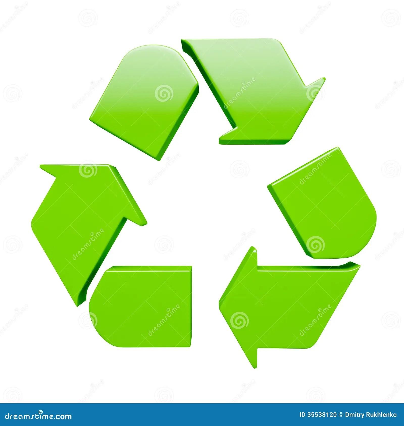 Simbolo De Reciclaje Verde Aislado En Blanco Stock De