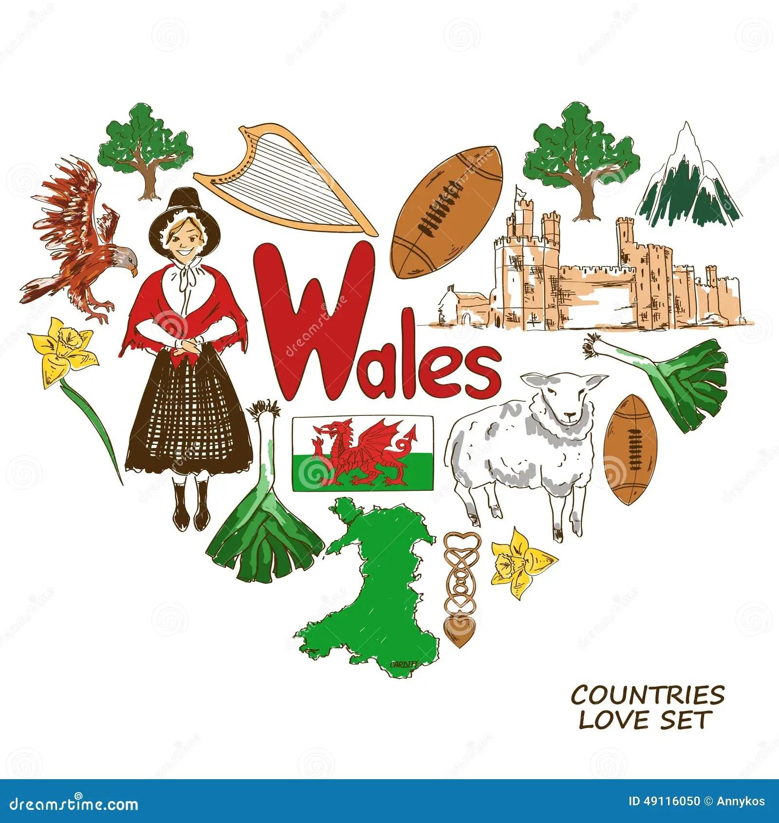 Simbolos De Pais De Gales En Concepto De La Forma Del