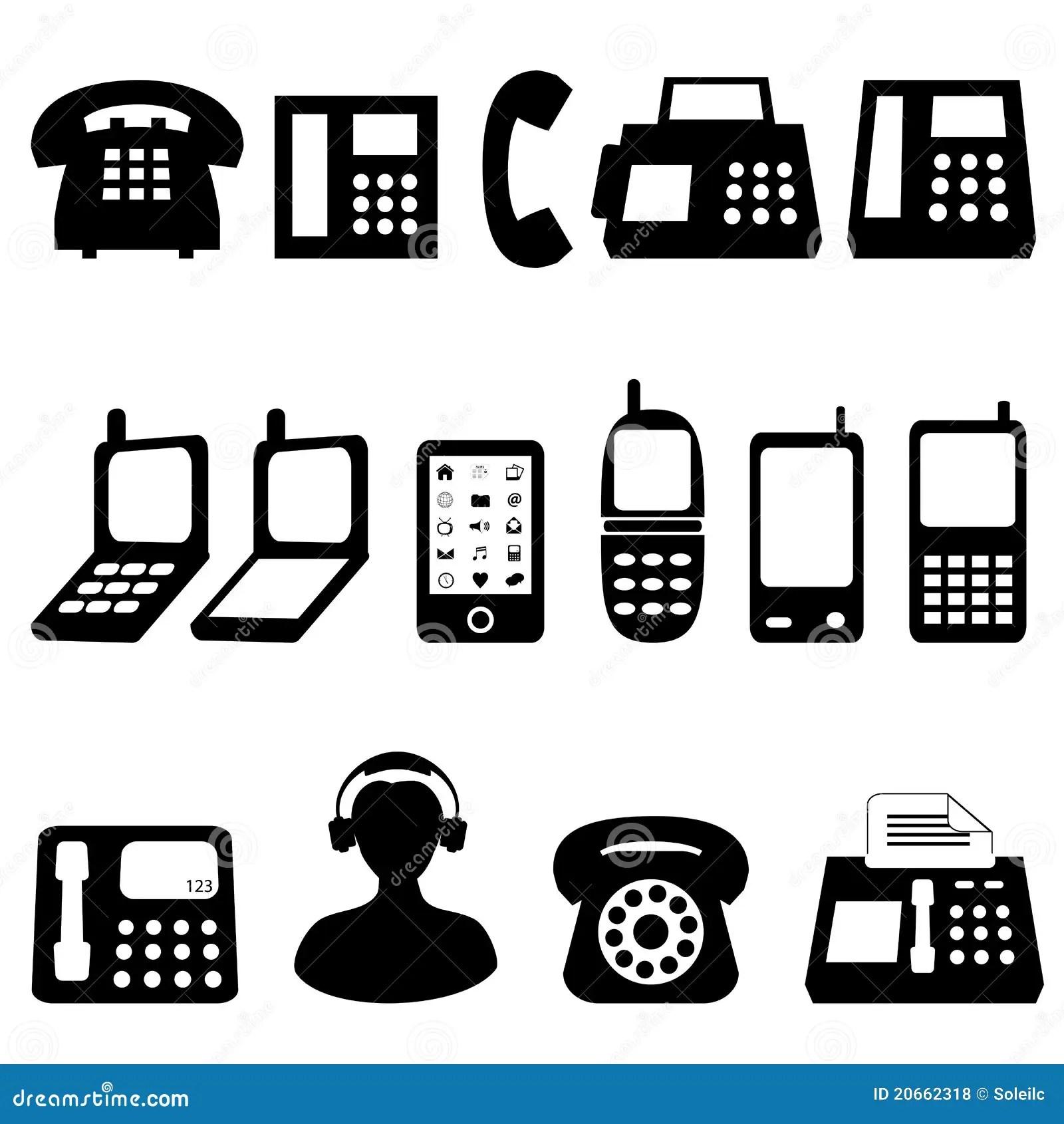 Simbolos Del Telefono Celular Del Telefono Y Ilustracion