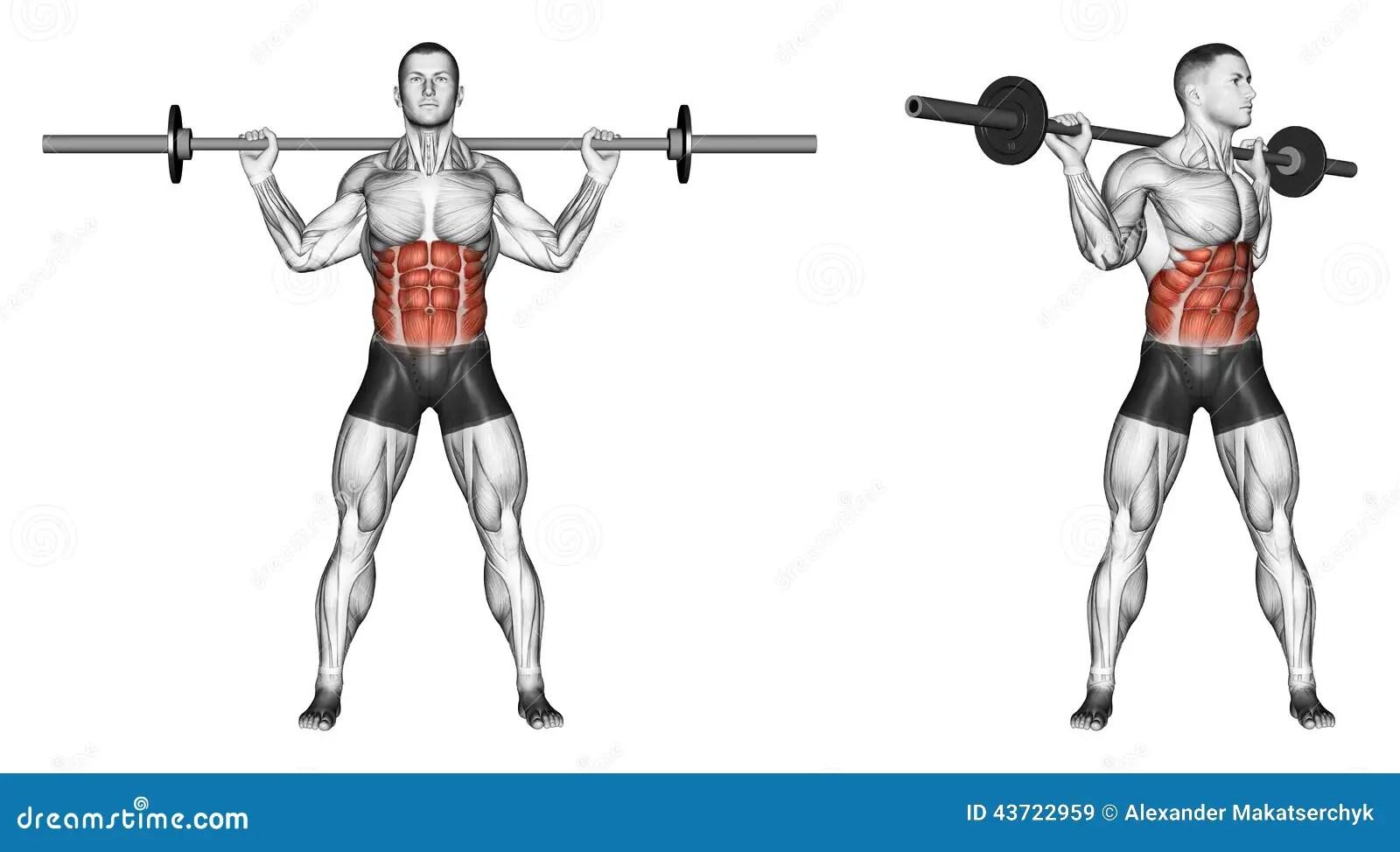 S Exercer Tourne Le Torse Avec Le Barbell Illustration