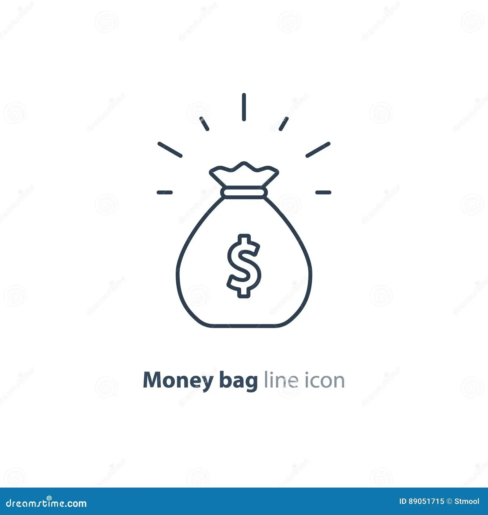 Sack Of Money Finance Saving Award Prize Mono Line Icon