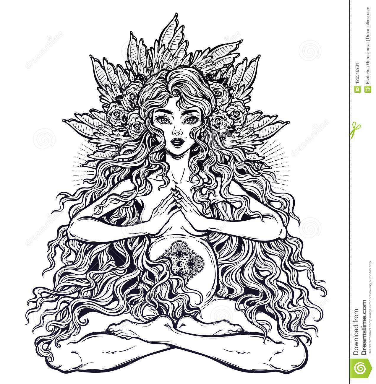 Sacred Motherhood Beautiful Boho Pregnant Woman In Lotus Position With Long Hair Stock Vector