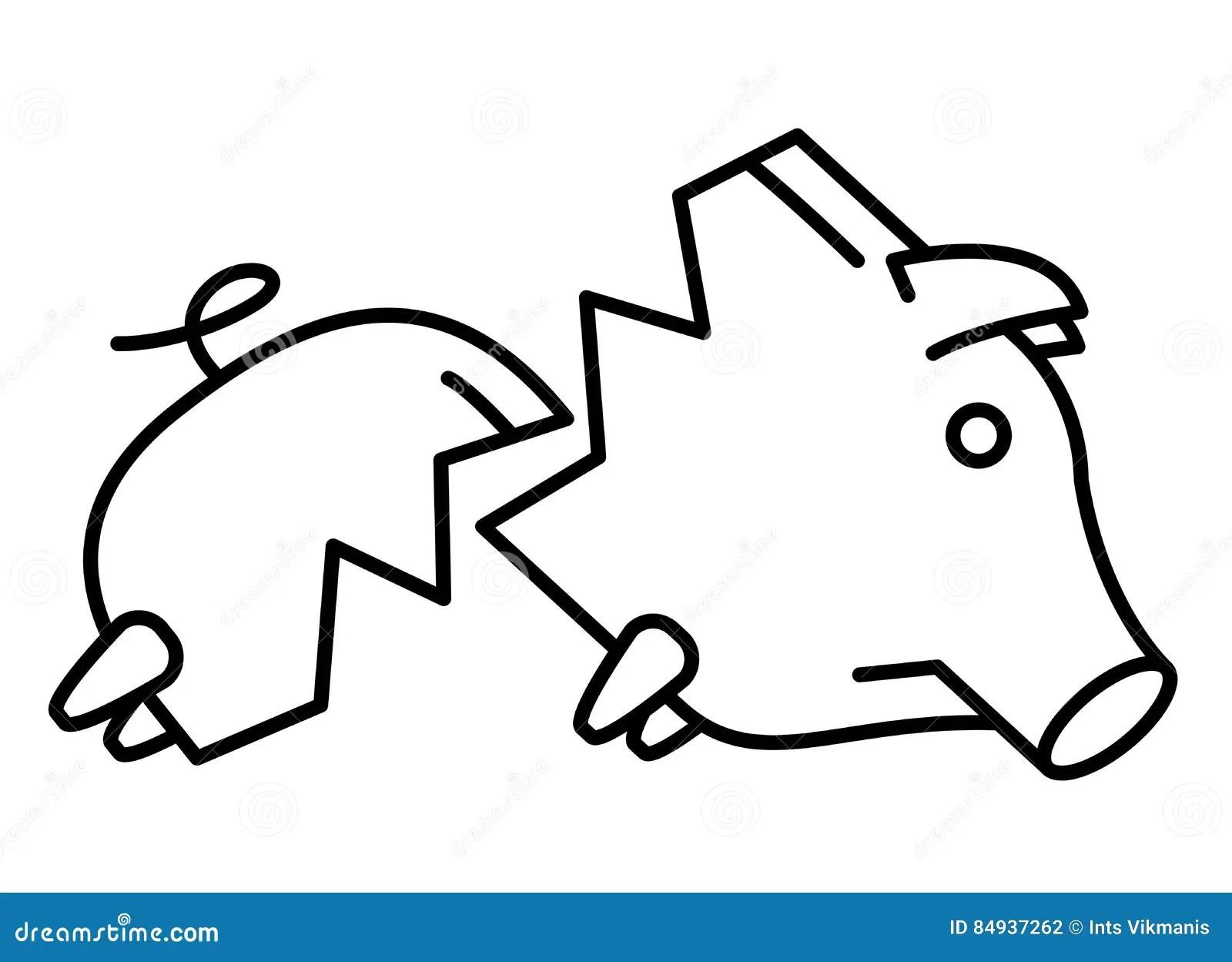 Sad Broken Piggy Bank Or Money Box Stock Vector
