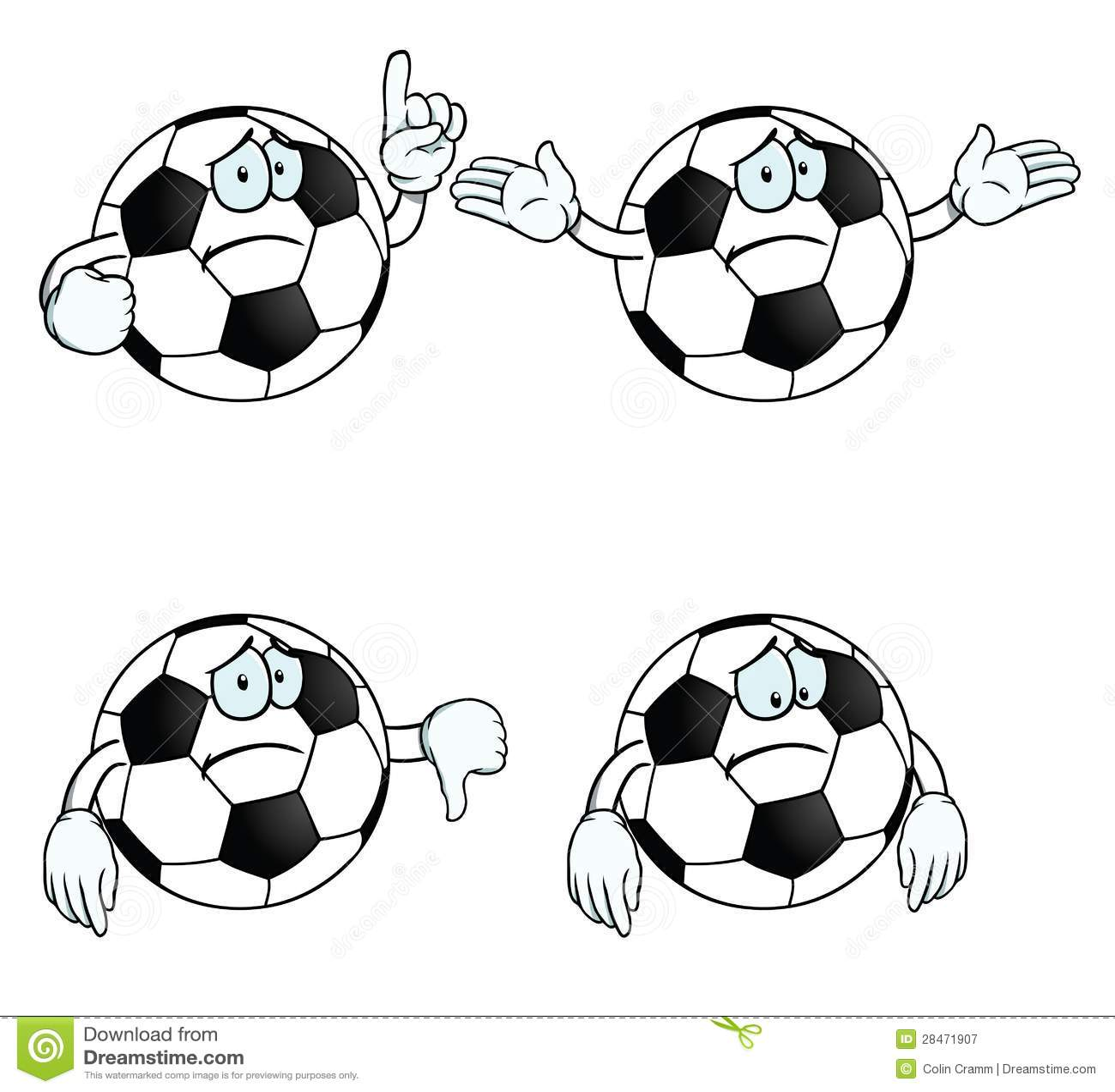 Sad Cartoon Football Set Royalty Free Stock Photography