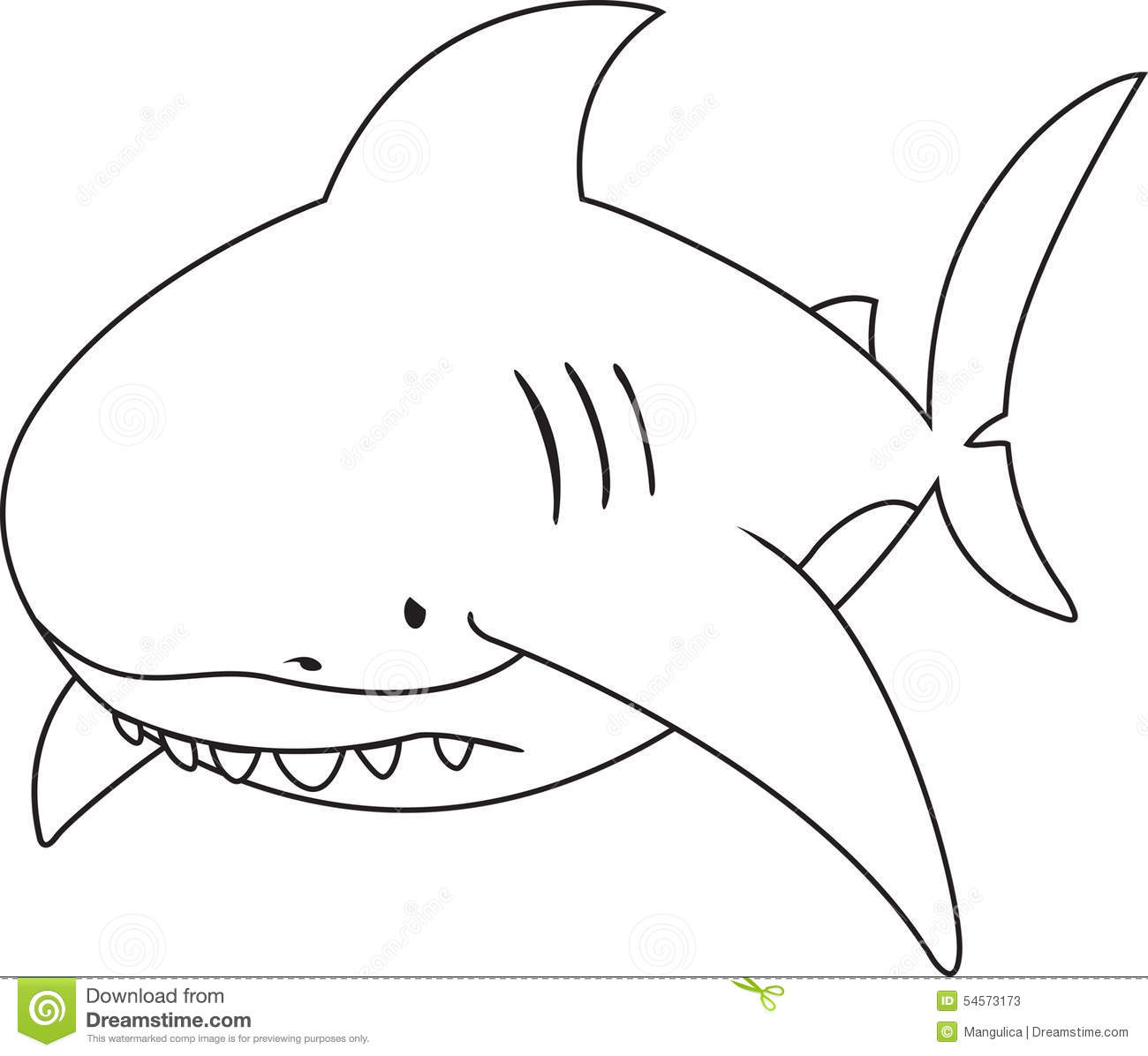 Sad Looking Great White Shark Stock Vector