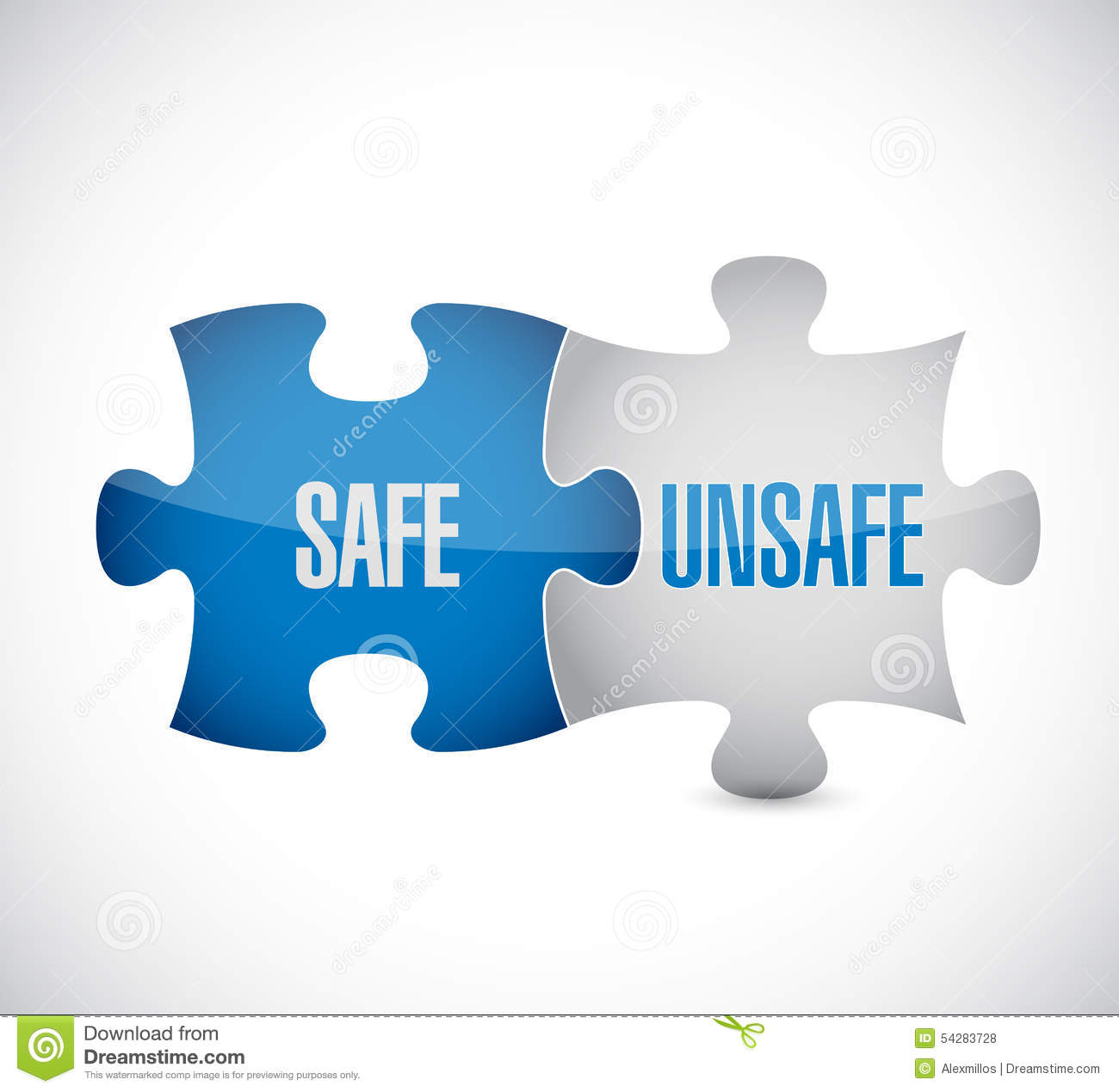 Safe And Unsafe Puzzle Pieces Sign Stock Illustration