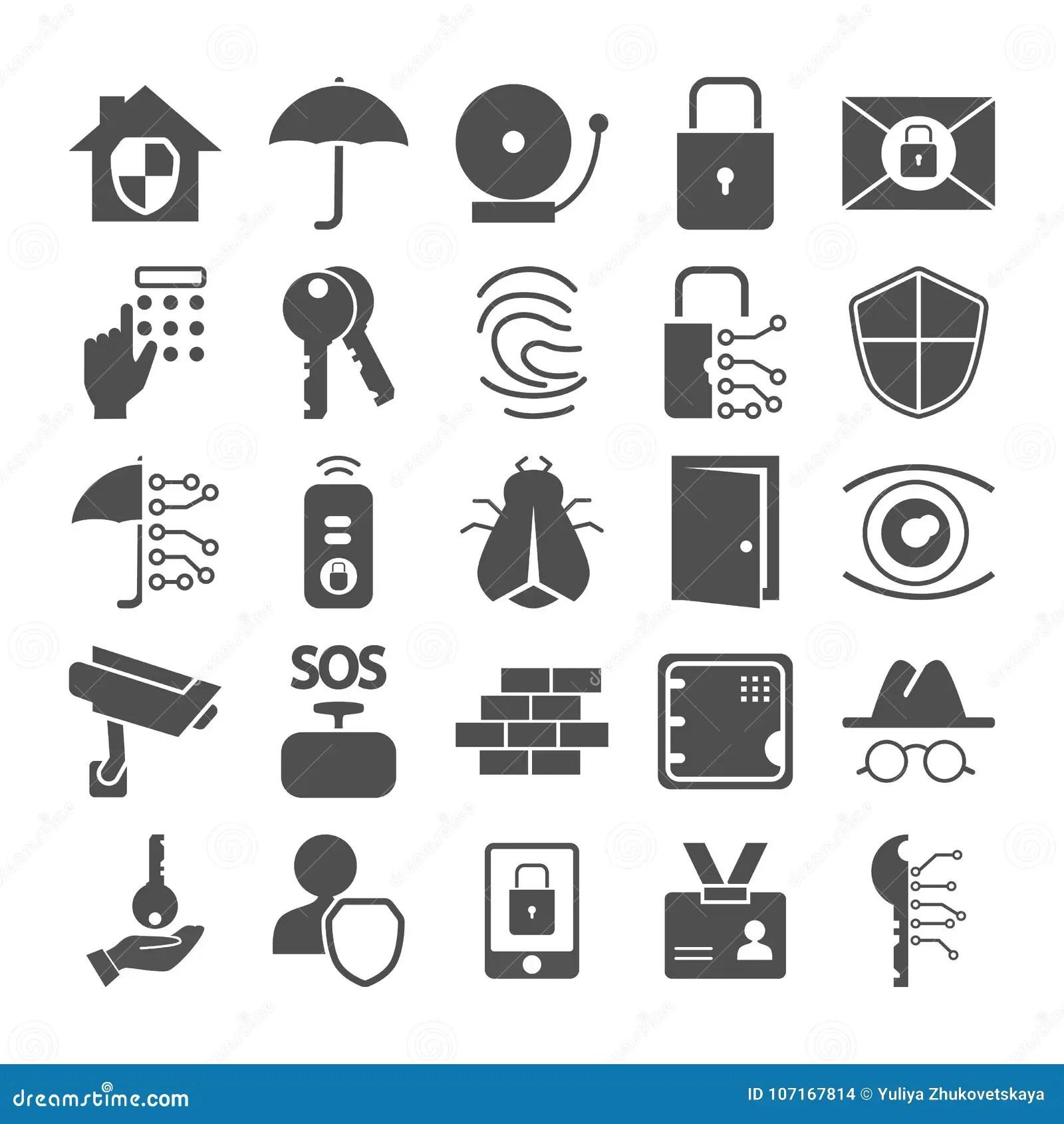 Security Icons Cartoon Vector