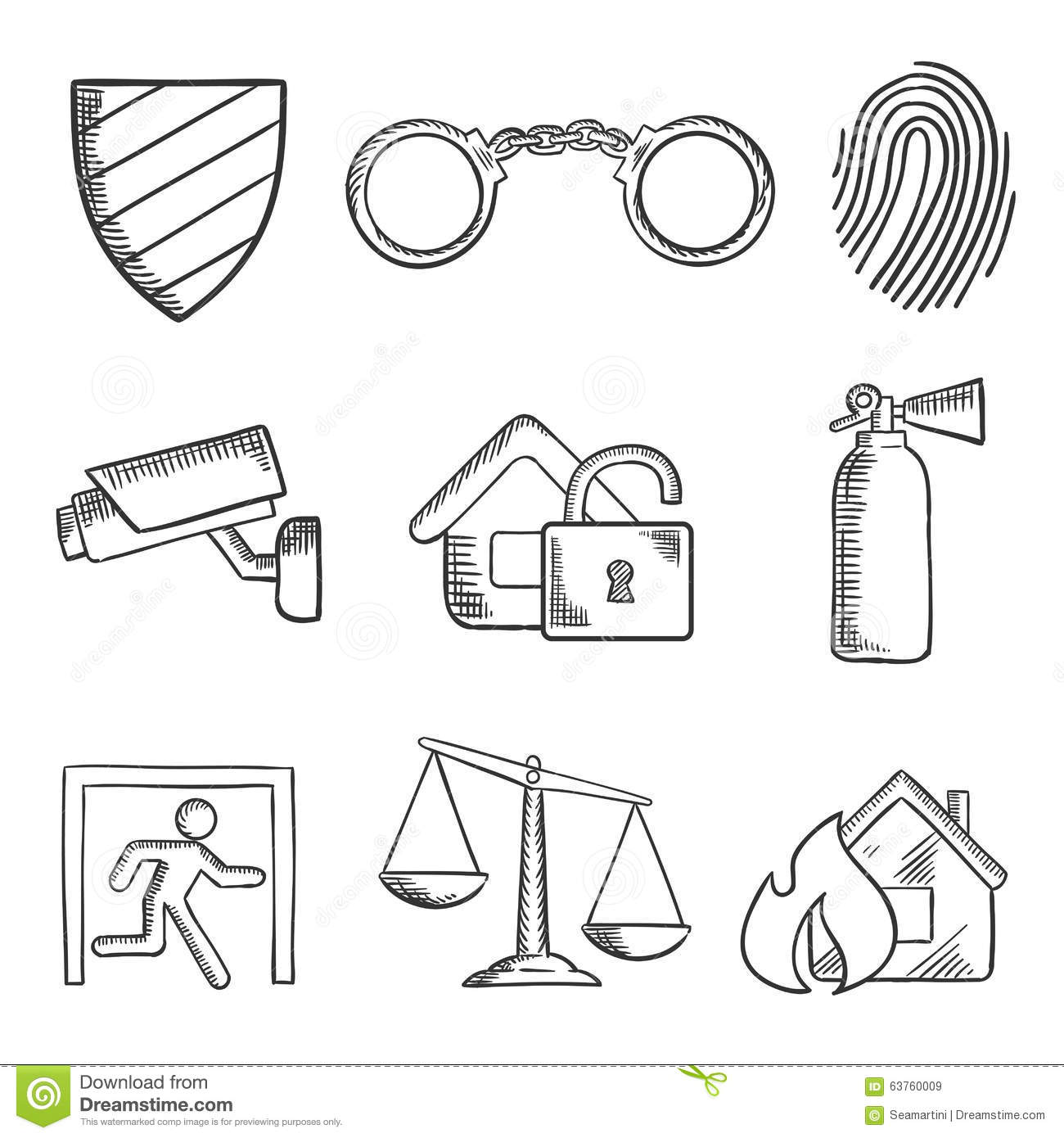 Safety And Security Sketch Style Icons Stock Vector