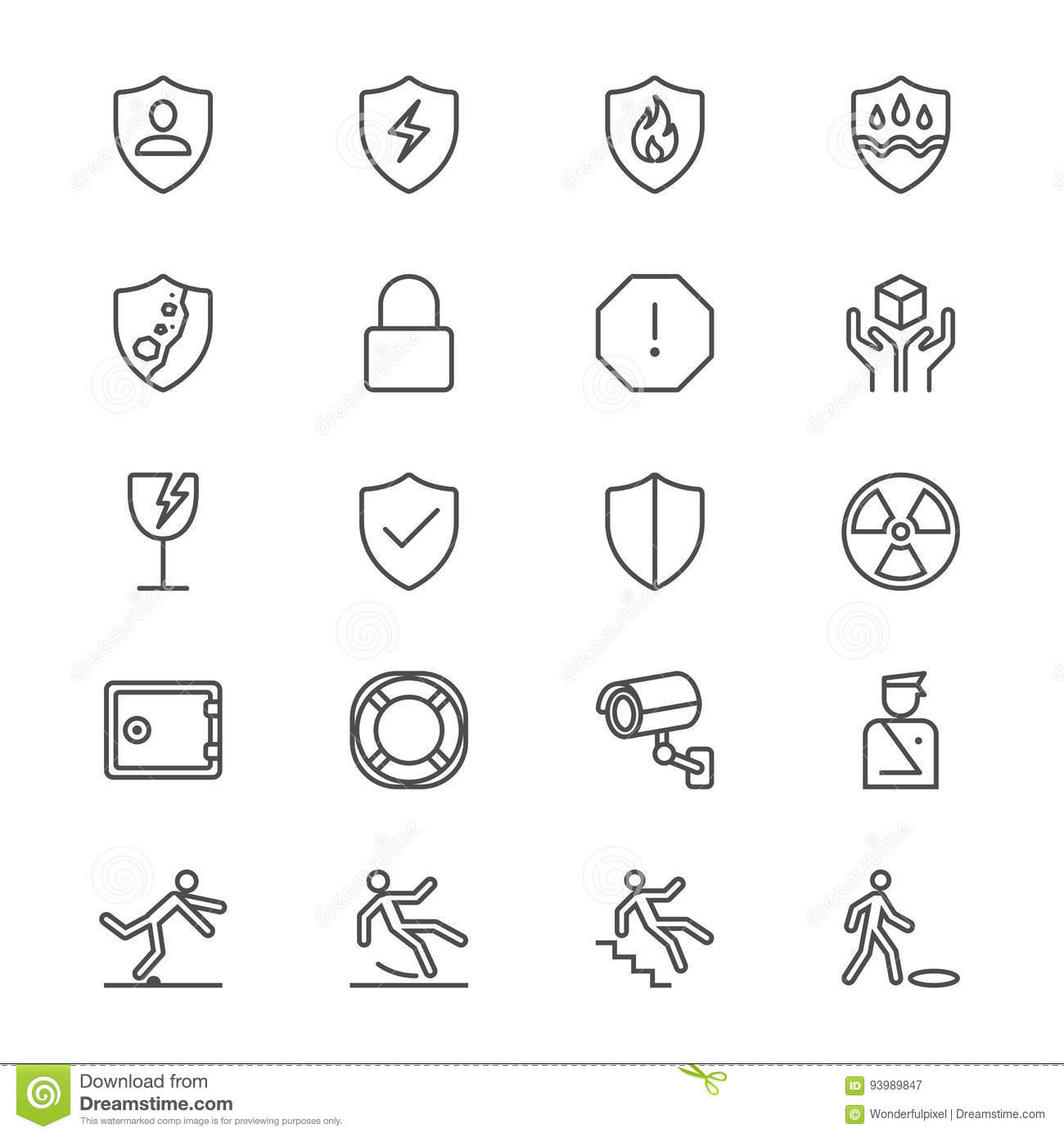 Safety Thin Icons Stock Vector Illustration Of Floor