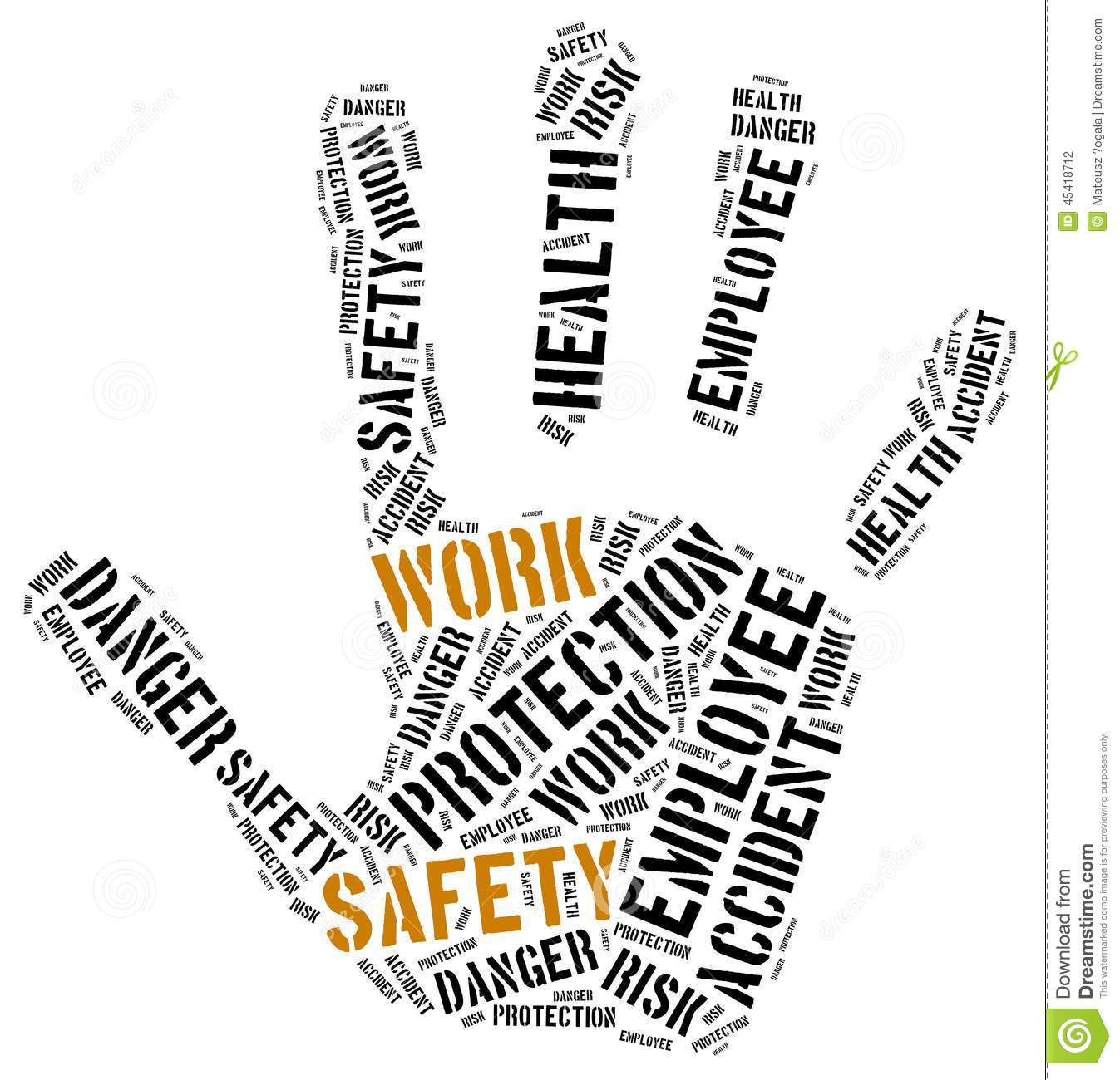 Safety At Work Concept Word Cloud Illustration Stock