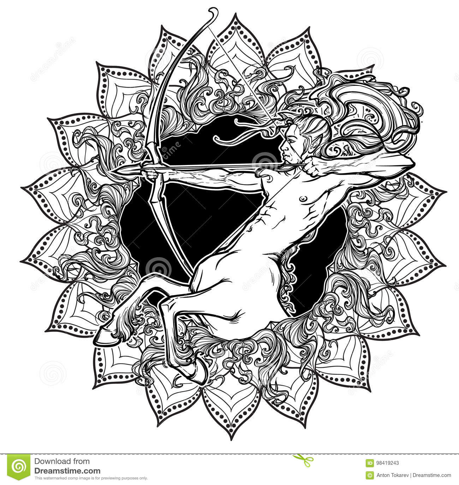 Sagittarius Zodiac Sign With A Decorative Frame Of Sun