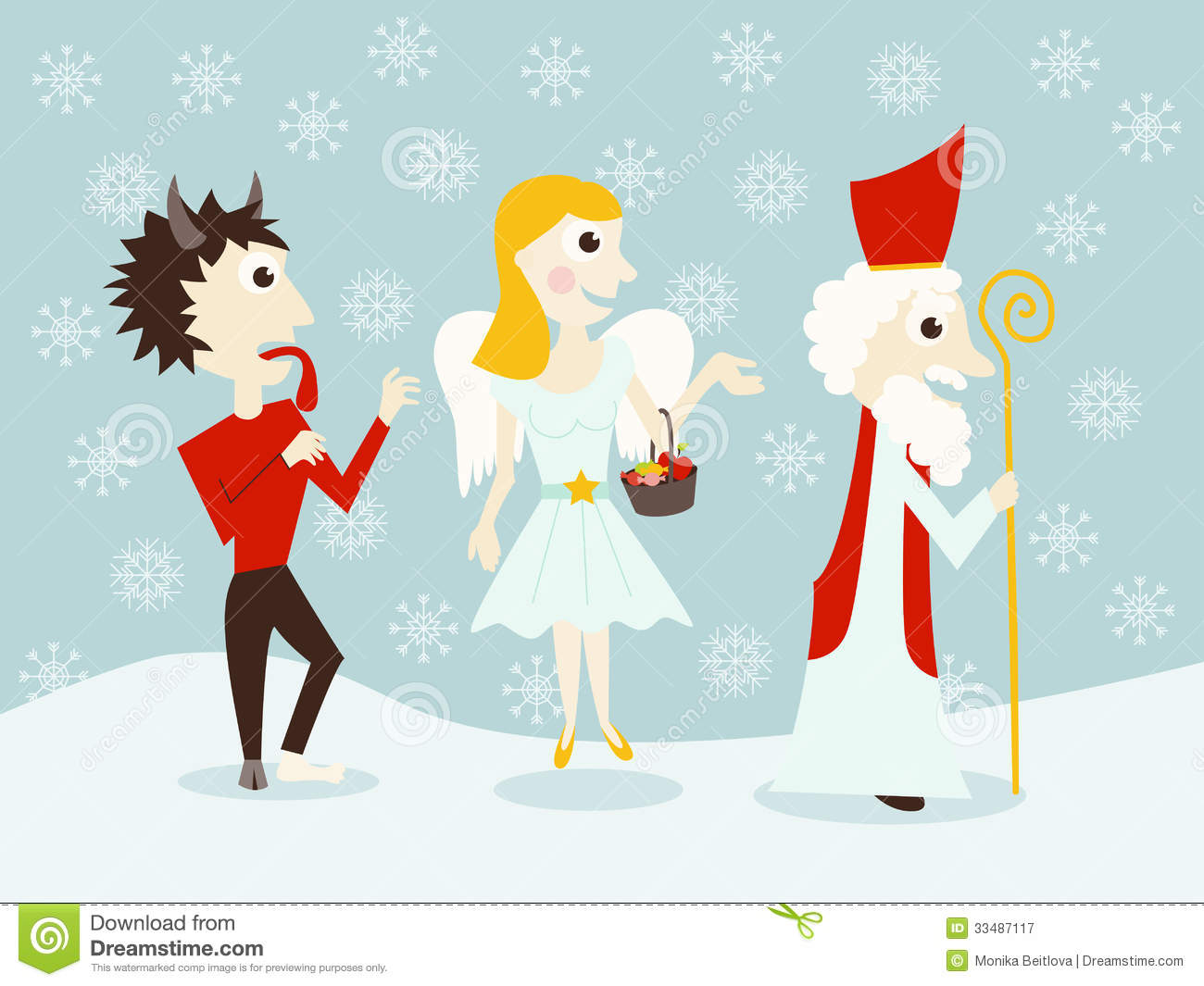 Saint Nicholas Angel And Devil Royalty Free Stock