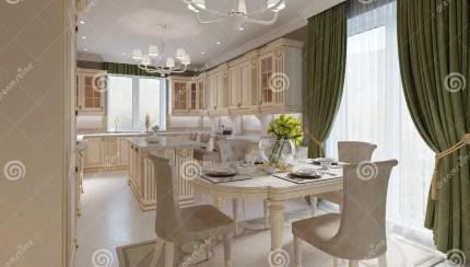 Sala De Jantar Luxuosa Bege Brilhante Com Mobilia Classica Elegante E Parede E Cortina Verde Oliva Ilustracao Stock Ilustracao De Oliva Luxuosa 133002809