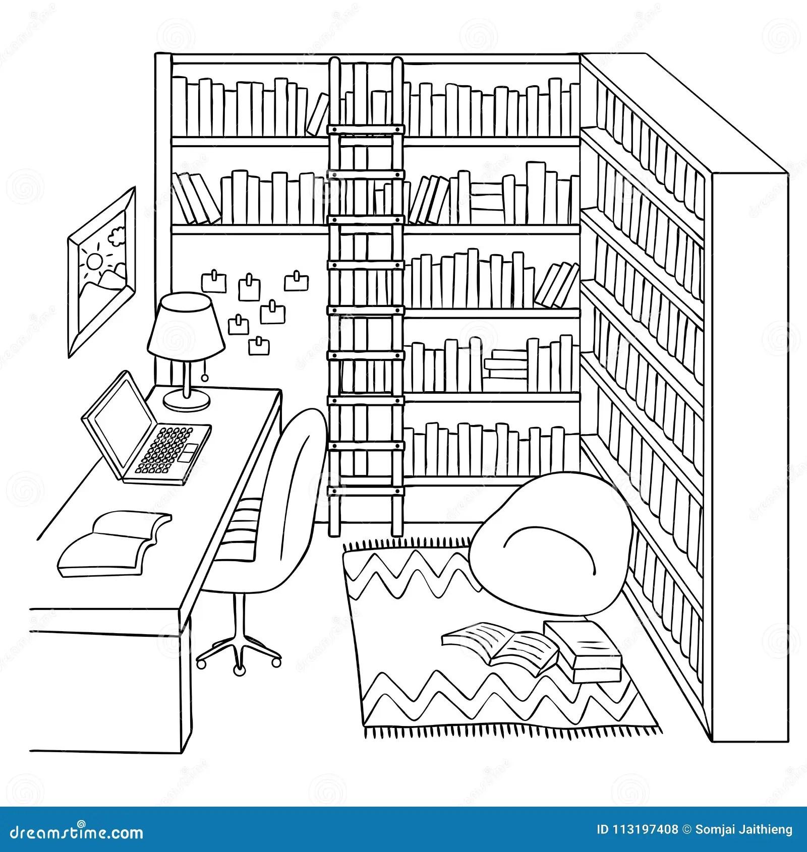 Sala Tirada Mao Do Estudo Ou Da Biblioteca Para O Elemento Do Projeto E A Pagina Do Livro Para