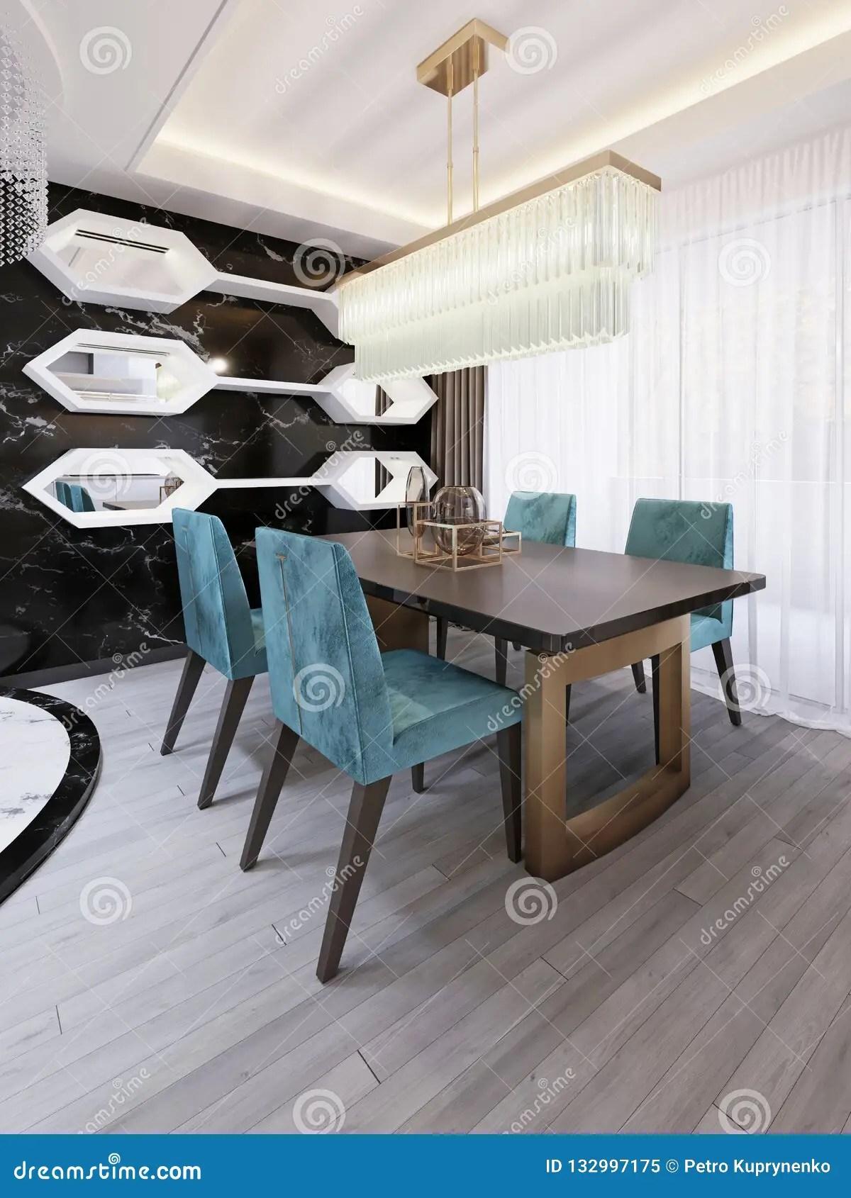 salle a manger moderne avec la table de