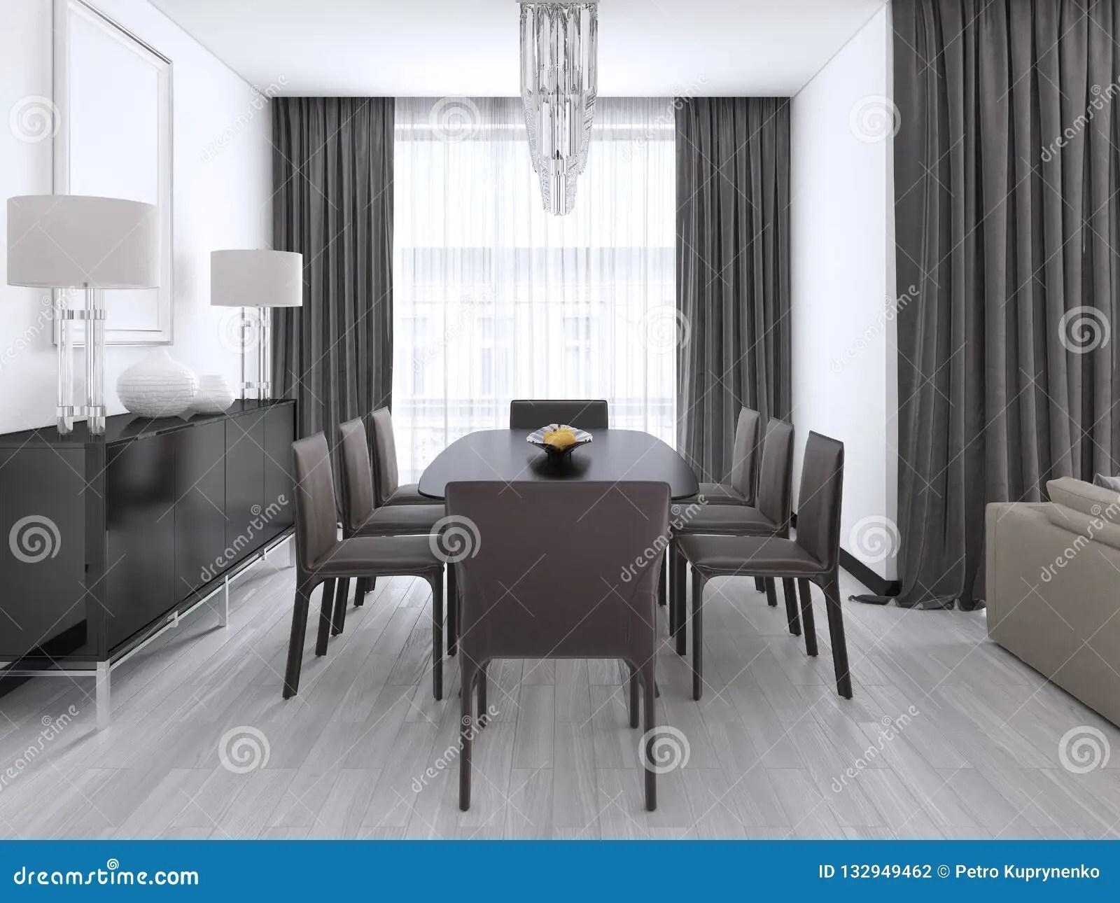 Salle A Manger Moderne Luxueuse Avec Une Grande Table Et Des Chaises Amorties Et Un Lustre En Cristal Plus De Illustration Stock Illustration Du Table Manger 132949462