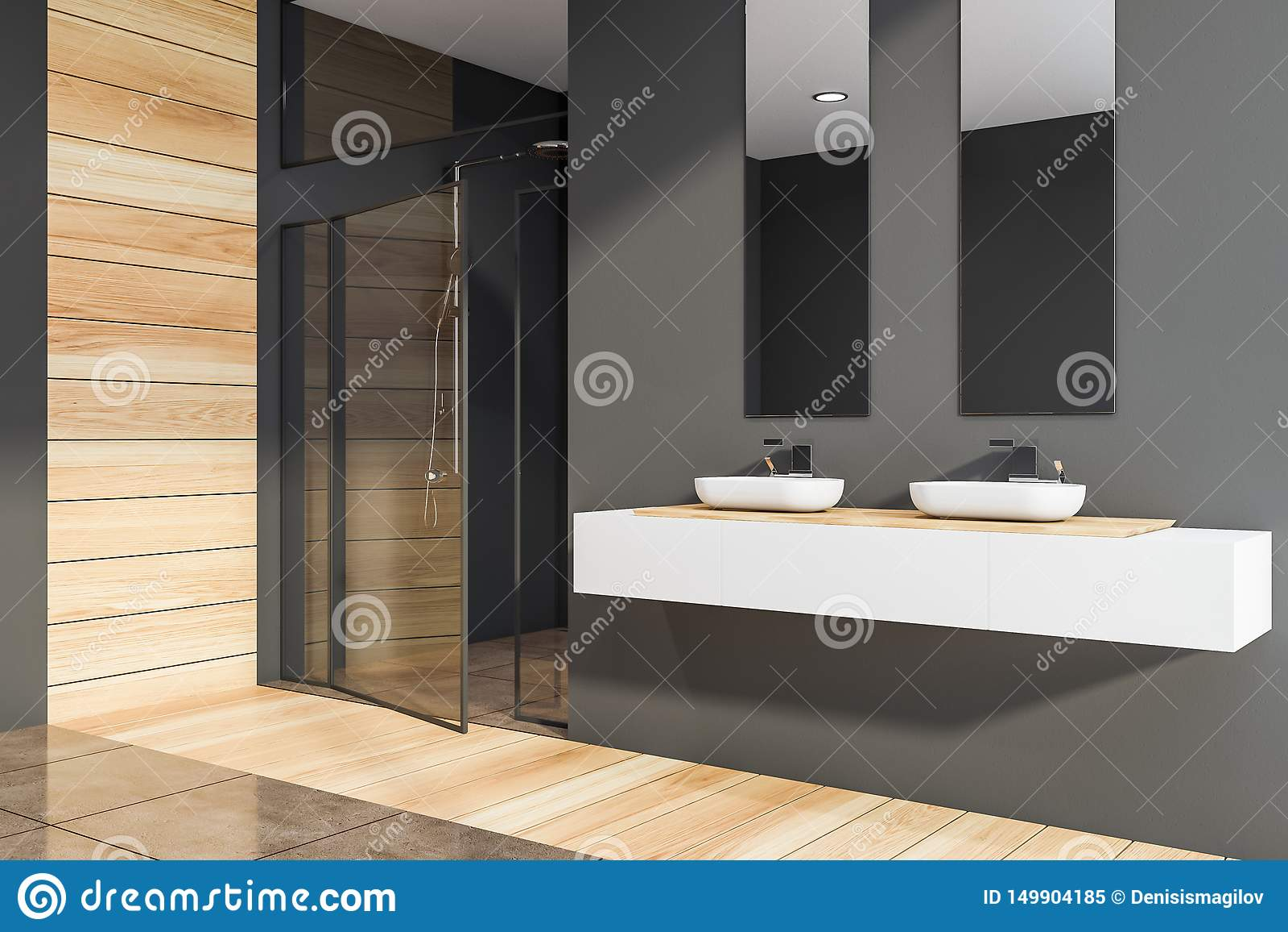 salle de bains eviers et douche gris
