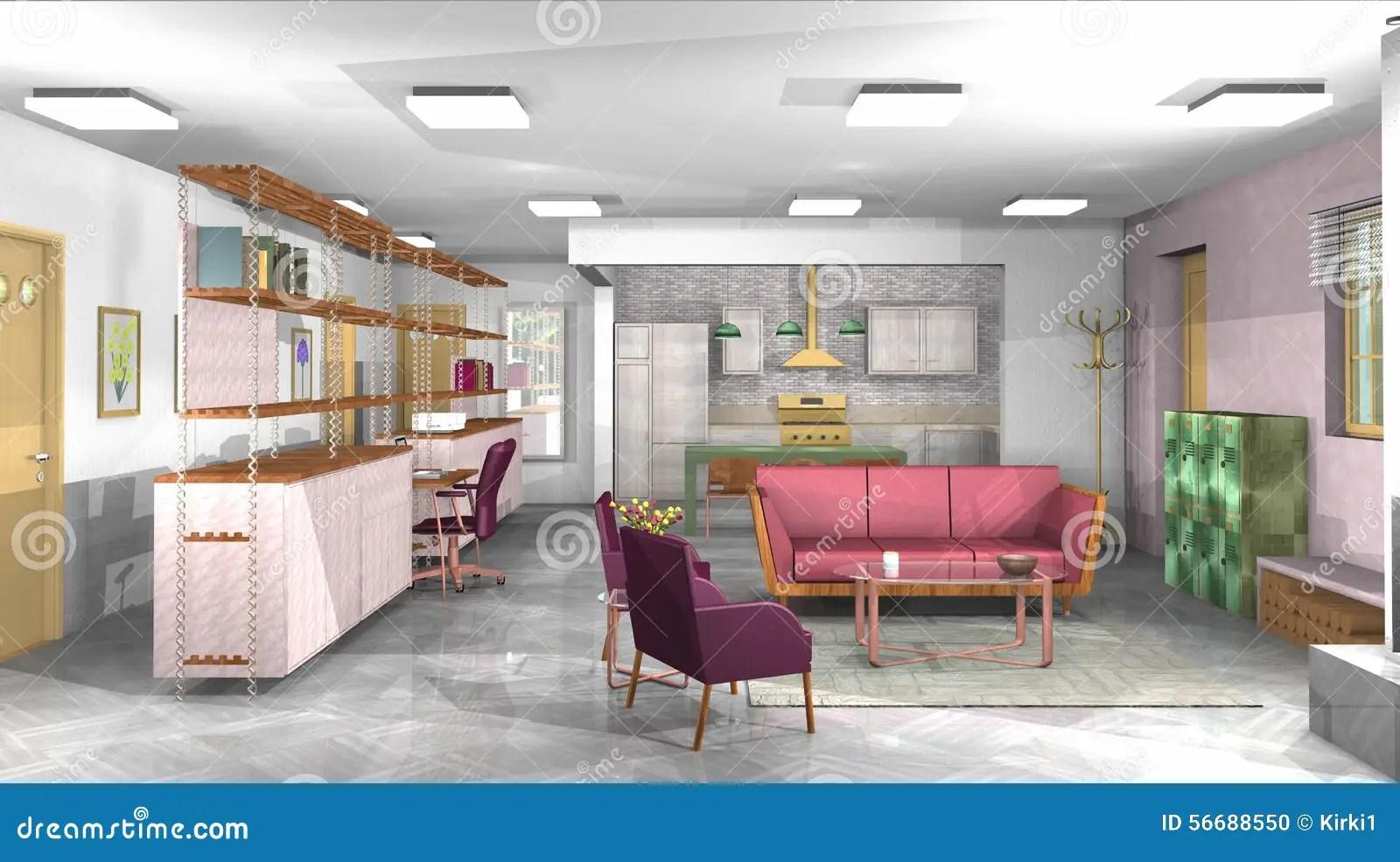 Salon Industriel Rustique Moderne Avec Le Bureau Et