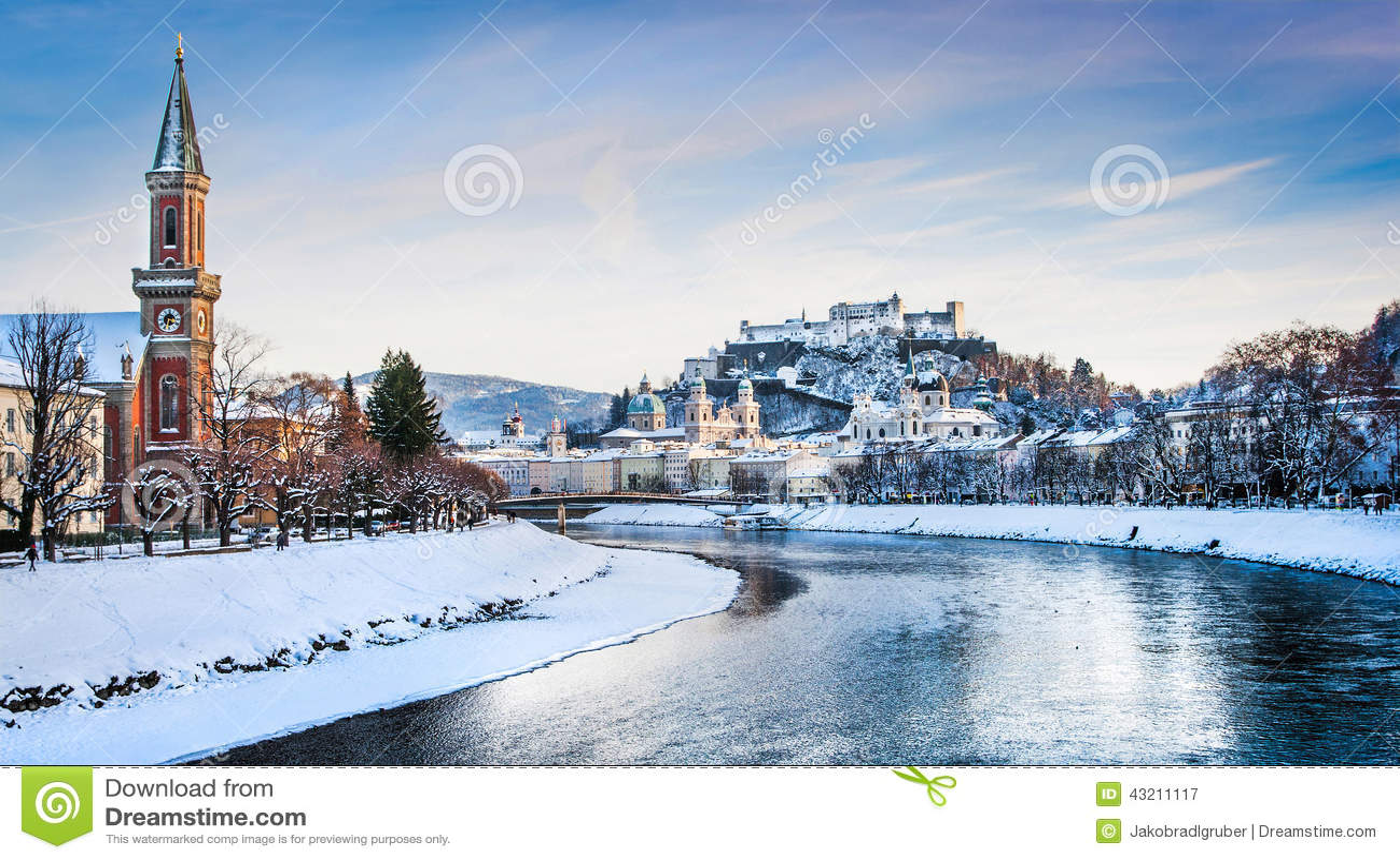 Salzburg Skyline With River Salzach In Winter Austria