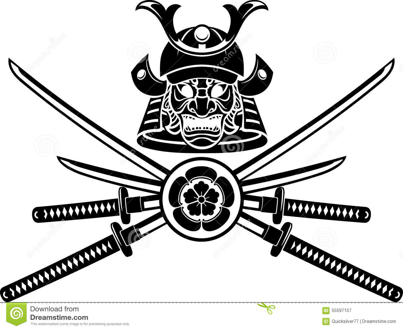 Samurai Helmet And Sword Emblem Stock Vector