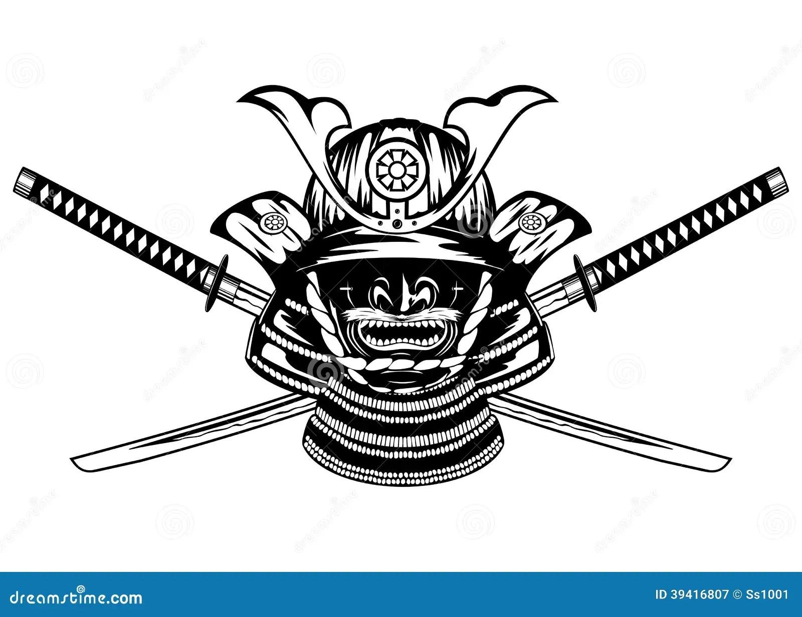 Samurai Helmet And Swords Stock Vector