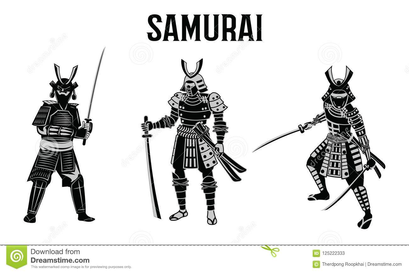 Samurai Hold Sword In Front Of Red Circle Warrior Of Japan