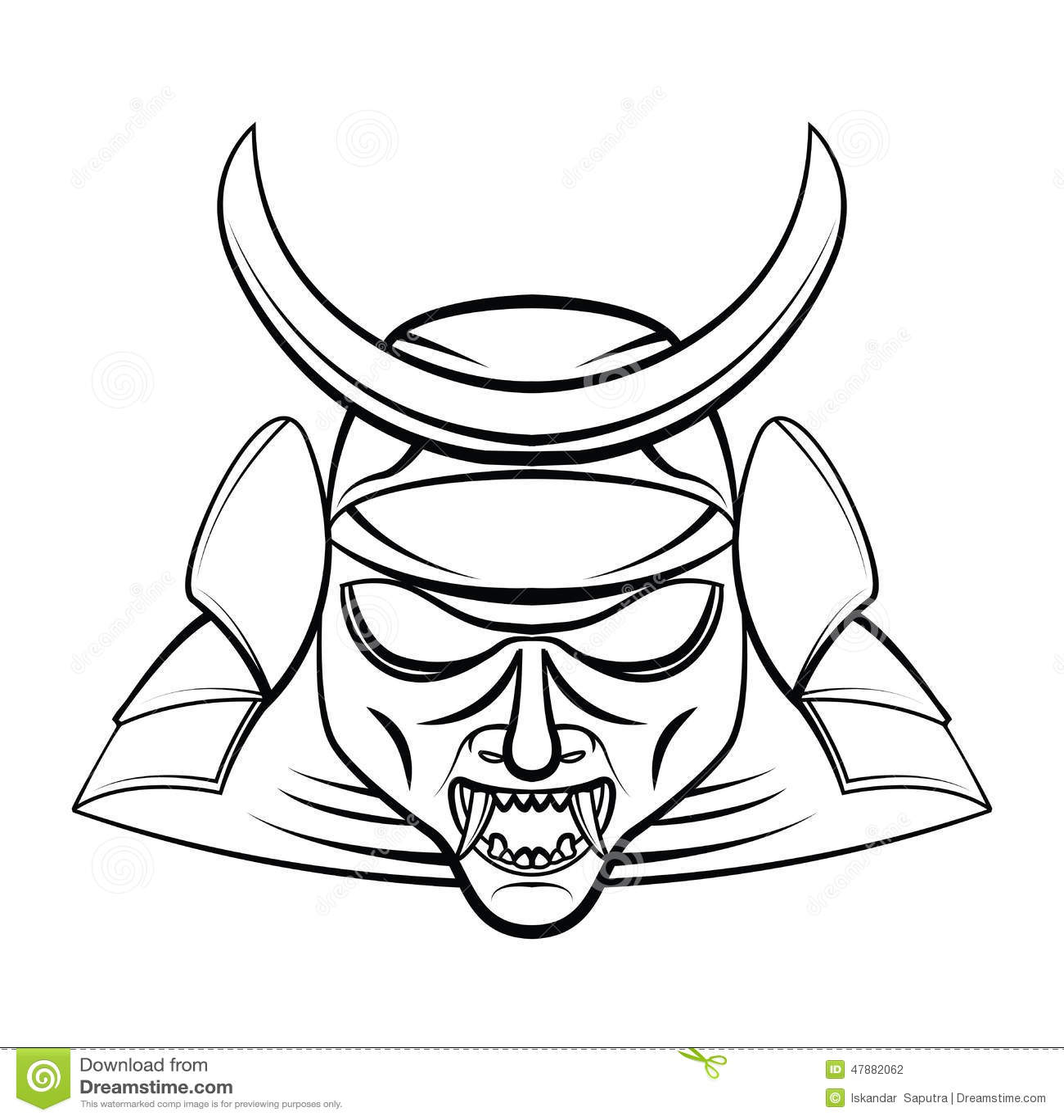 Samurai Mask Cartoon Vector