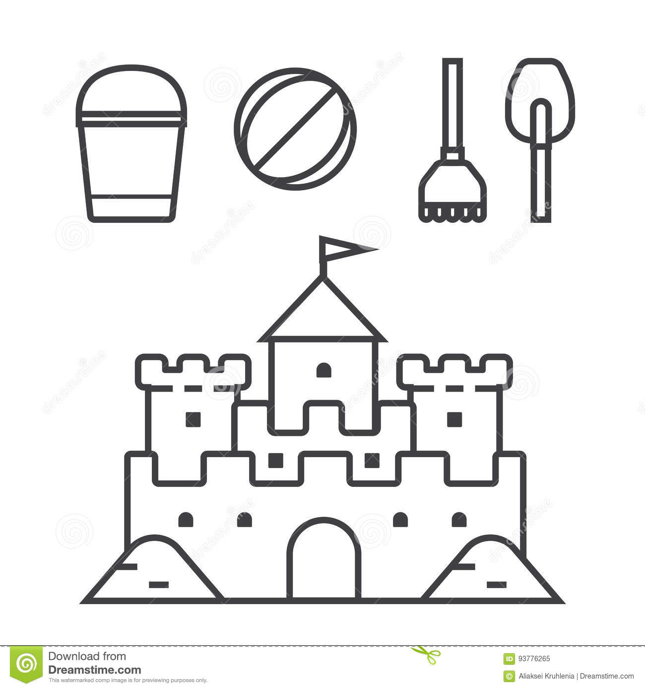 Sand Castle And Beach Toys Icons Stock Vector