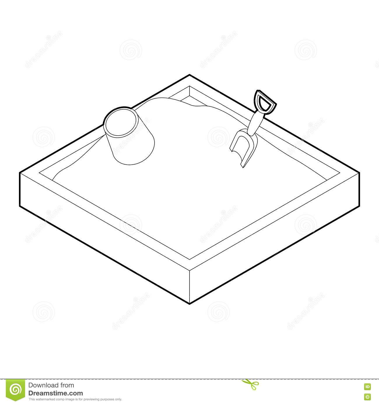 Sandbox Icon In Outline Style Stock Vector