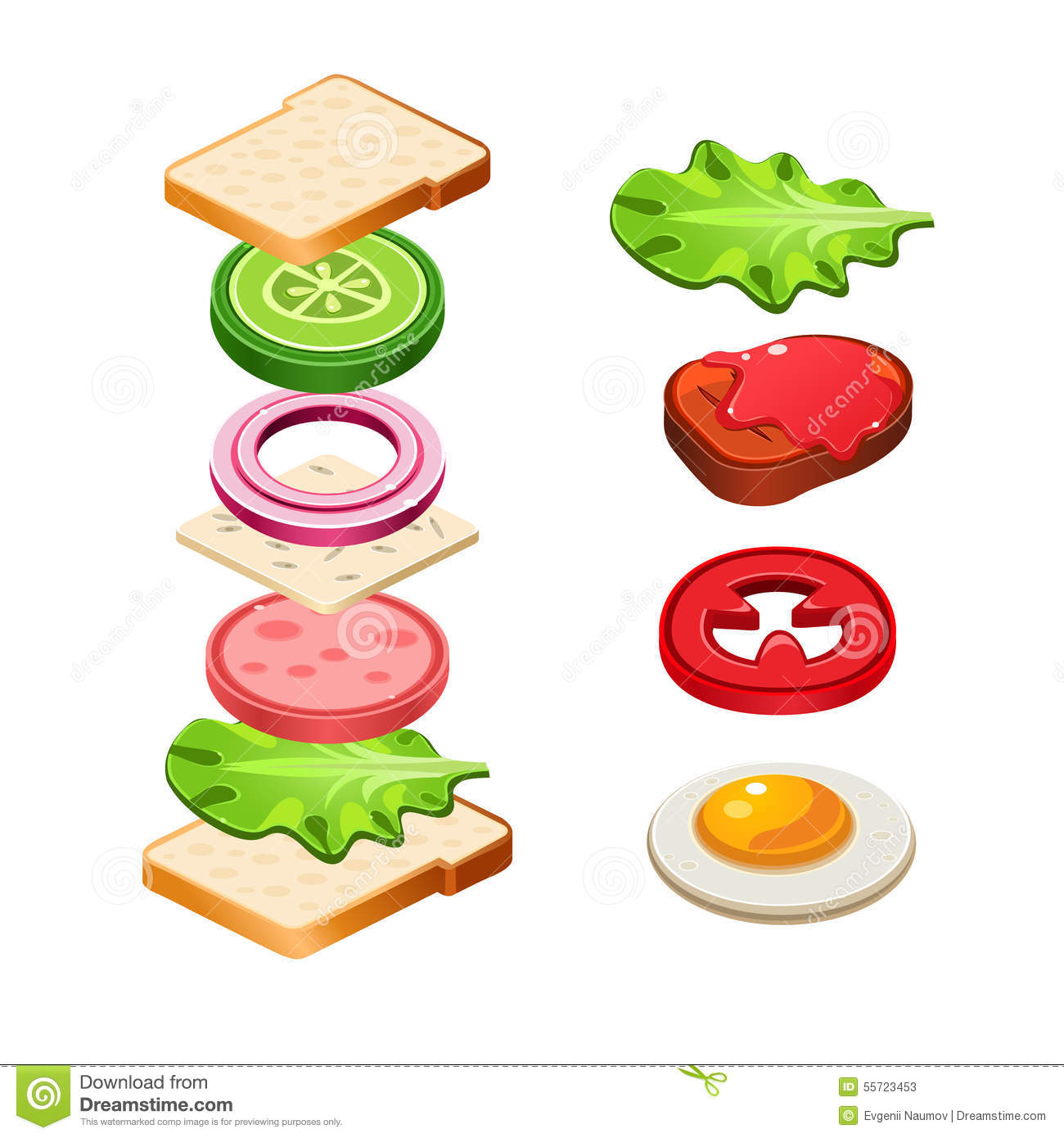 Sandwich Ingre Nts Food Illustration Royalty Free