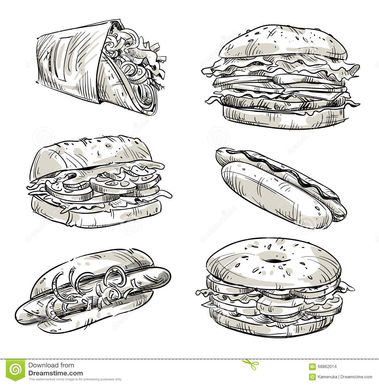 Fast Food Sandwiches And Hot Dog Cartoon Vector