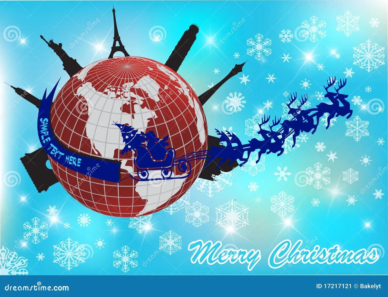 Santa Around The World Stock Vector Image Of Light Gift