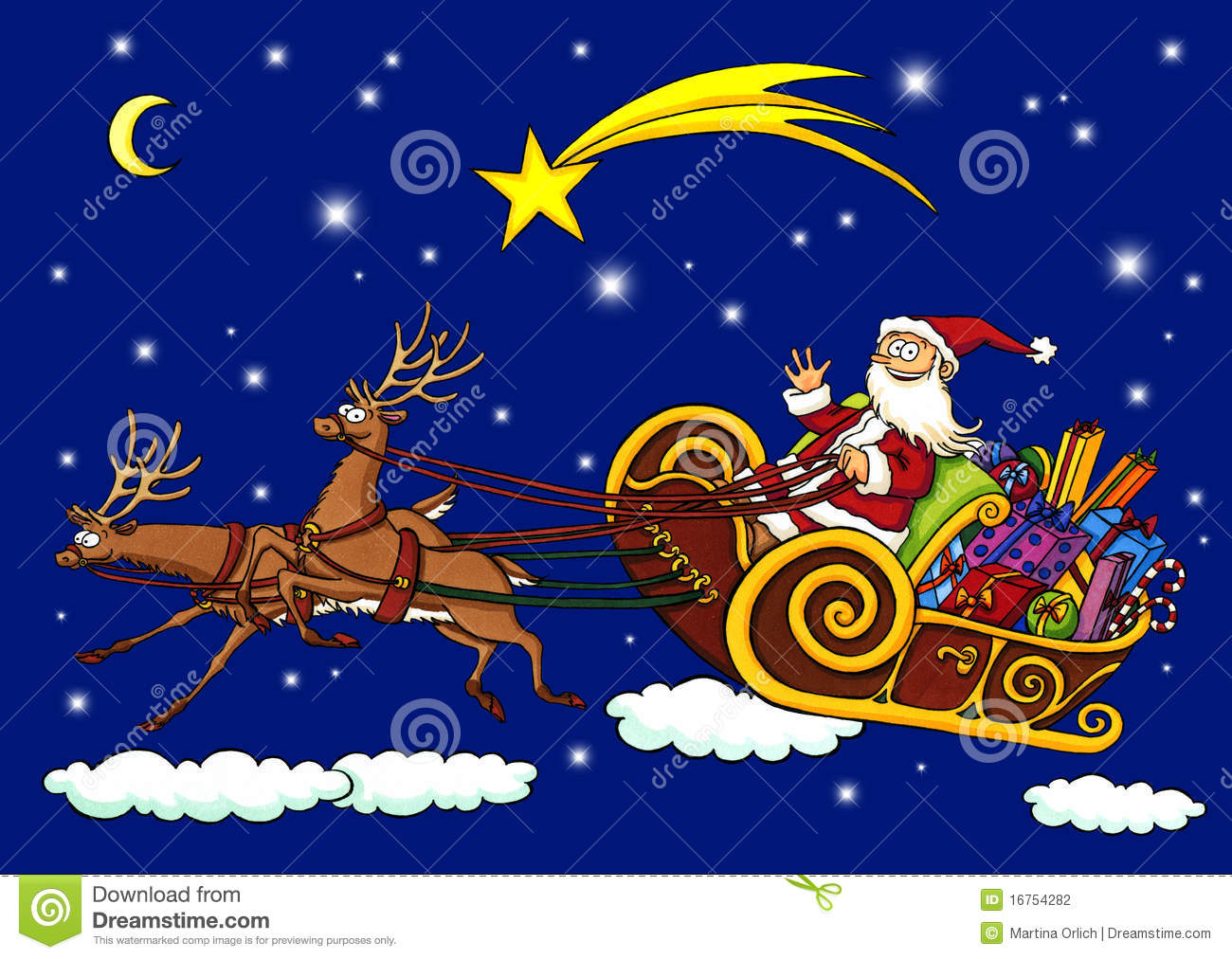 Santa Claus Flying Through The Night In A Sleigh Stock