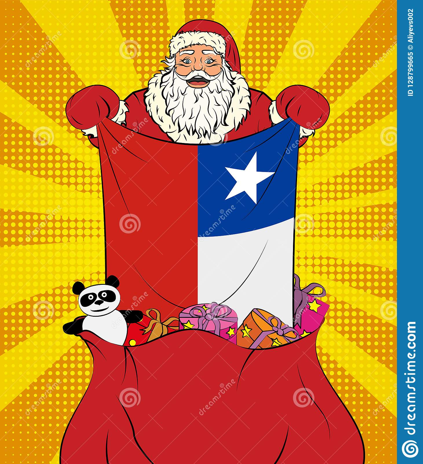 Santa Claus Gets National Flag Of Chile Out Of The Bag