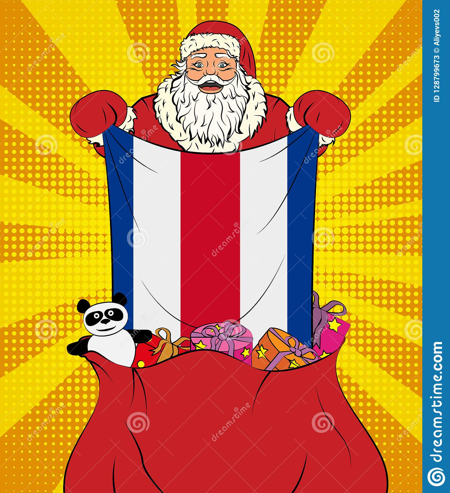 Santa Claus Gets National Flag Of Costa Rica Out Of The