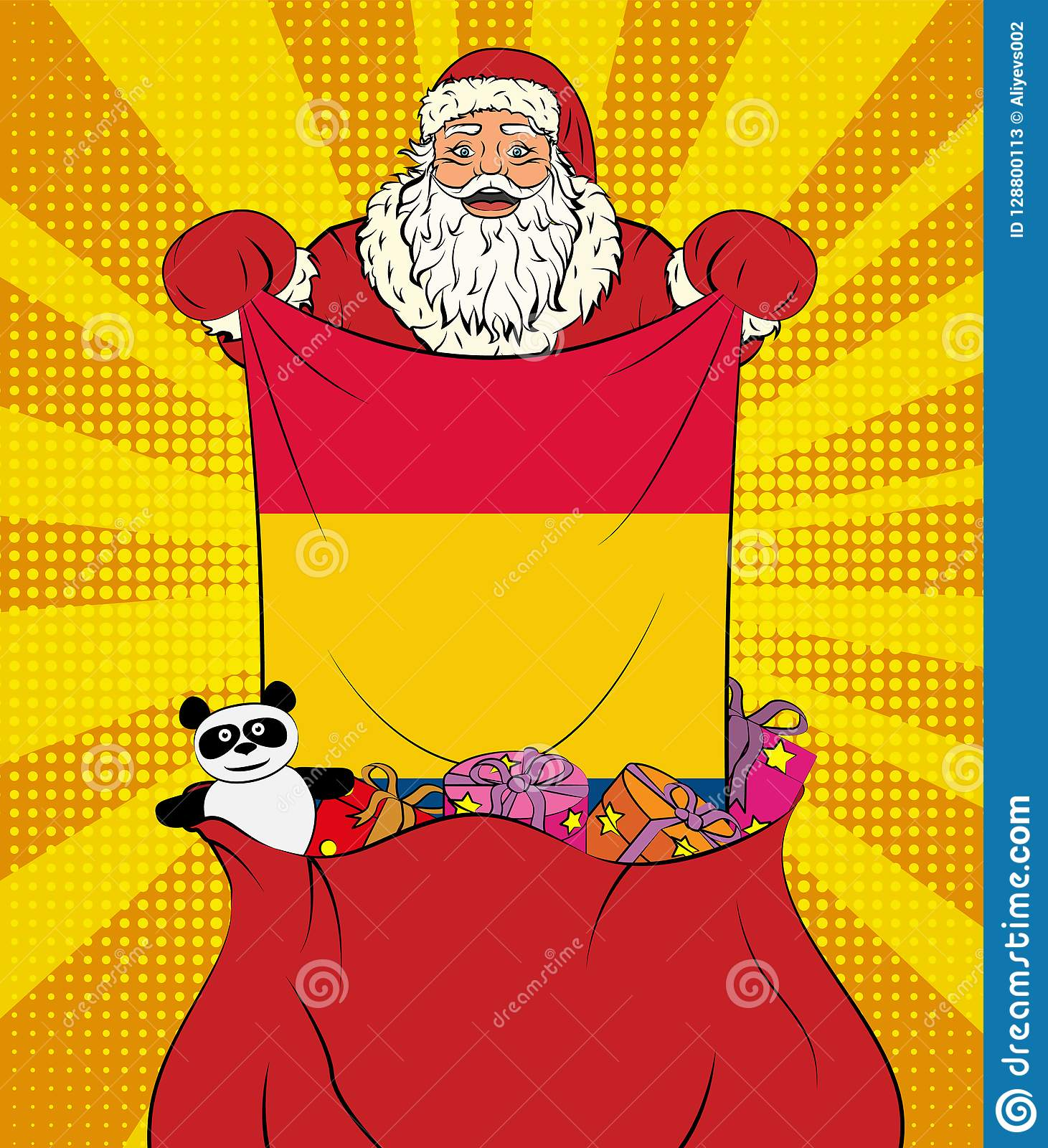 Santa Claus Gets National Flag Of Romania Out Of The Bag