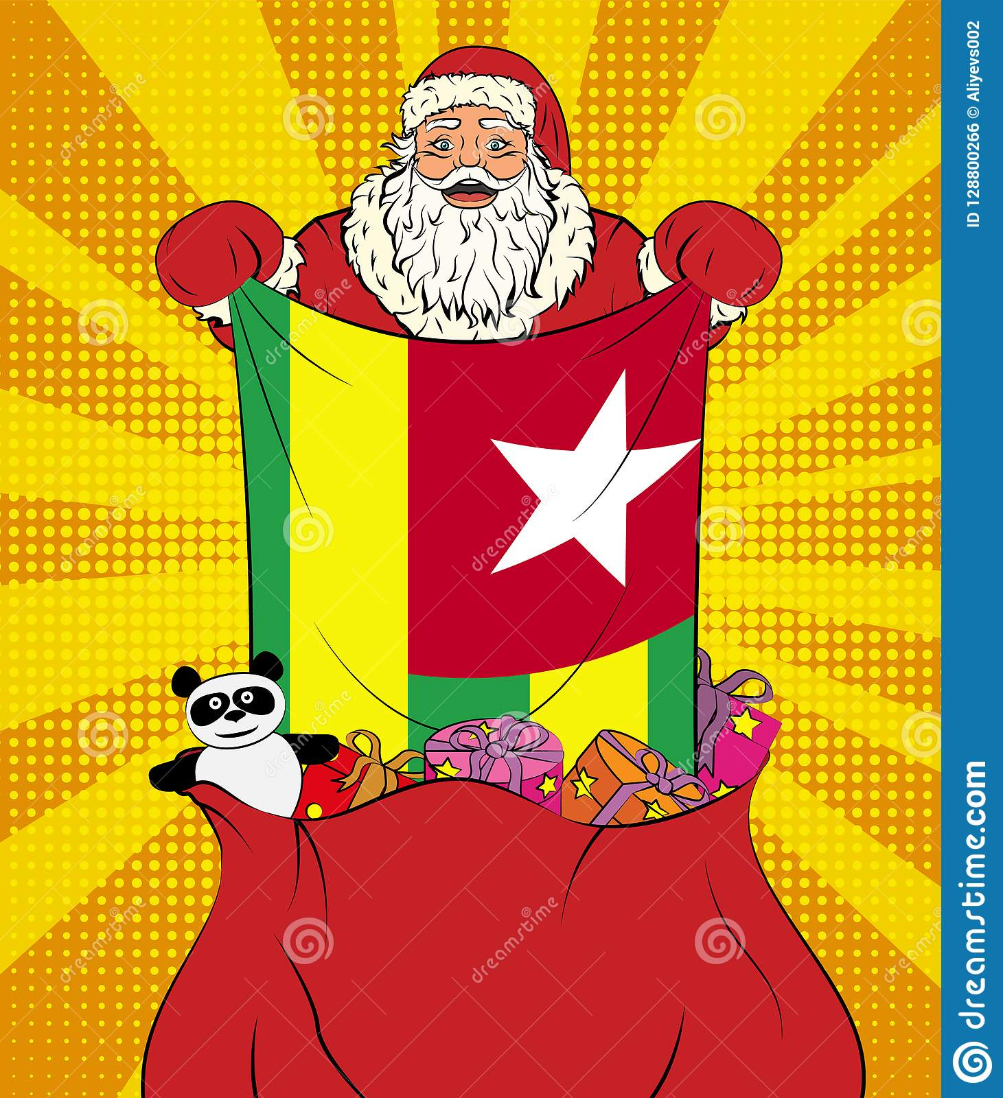 Santa Claus Gets National Flag Of Togo Out Of The Bag With