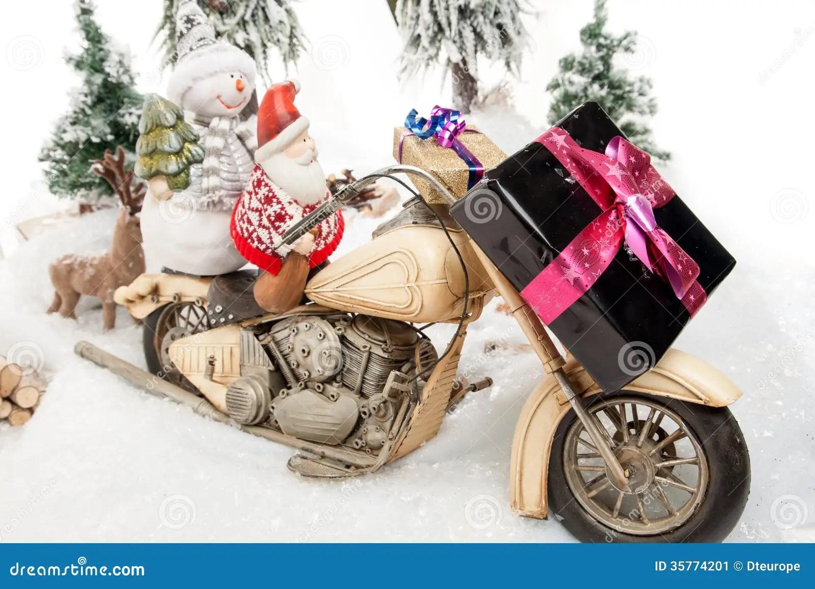 Santa Claus Motorcycle Trip Stock Image Image 35774201