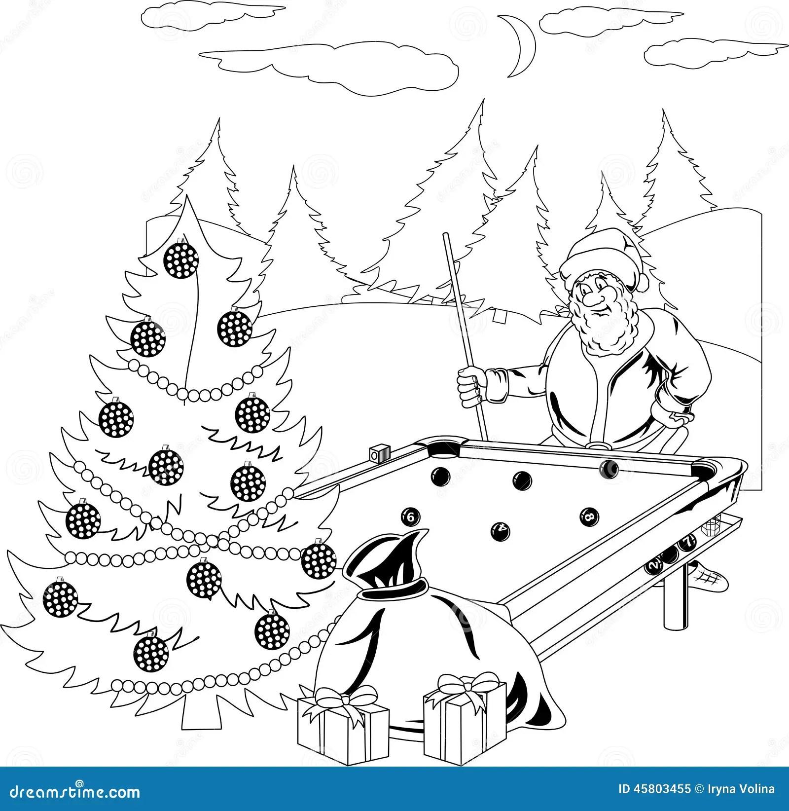 Santa Claus Playing Billiards Stock Vector