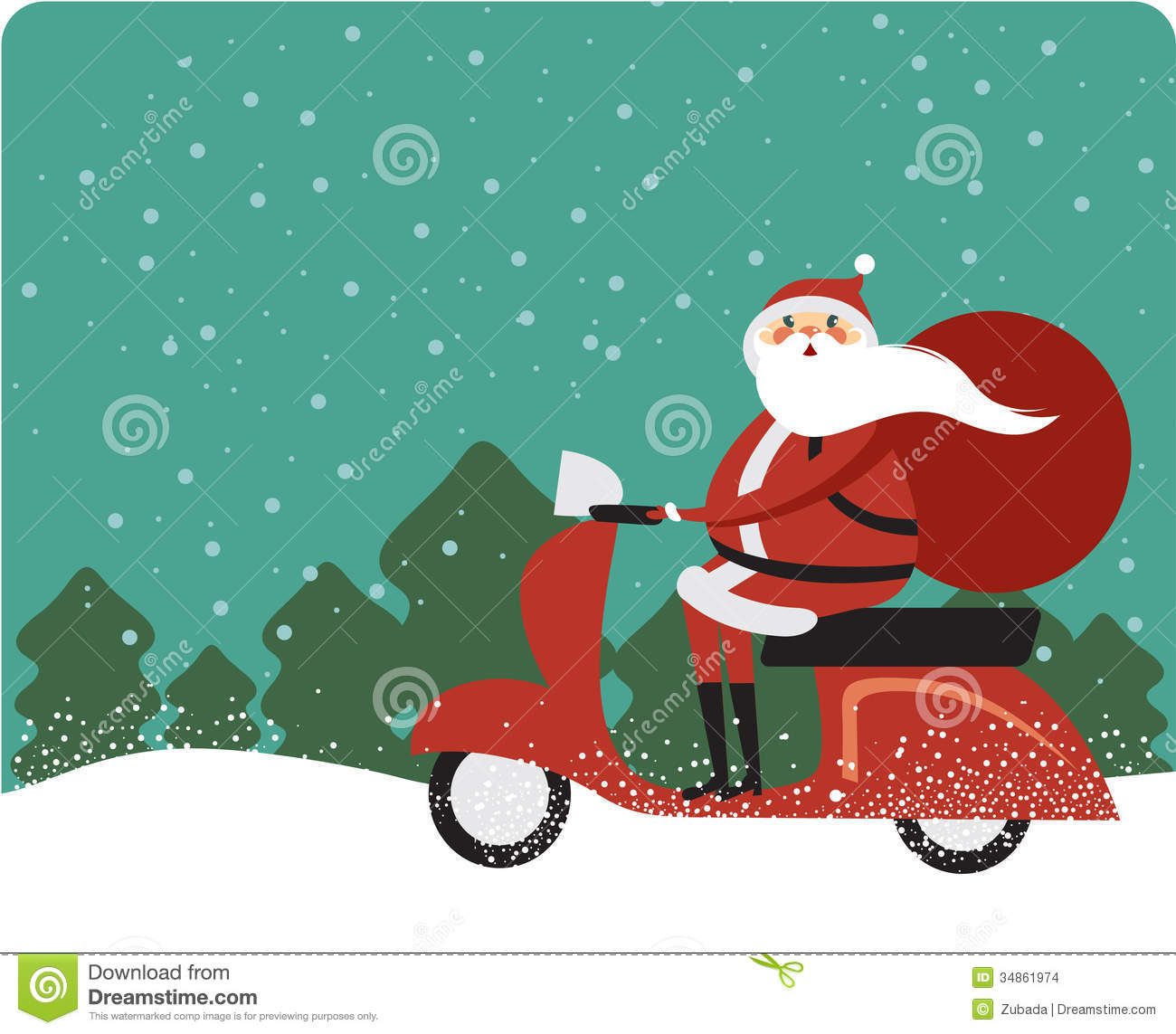 Santa Claus On A Scooter Stock Images Image 34861974