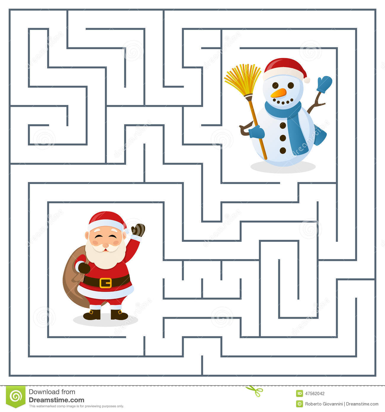 Santa Claus Amp Snowman Maze For Kids Stock Vector