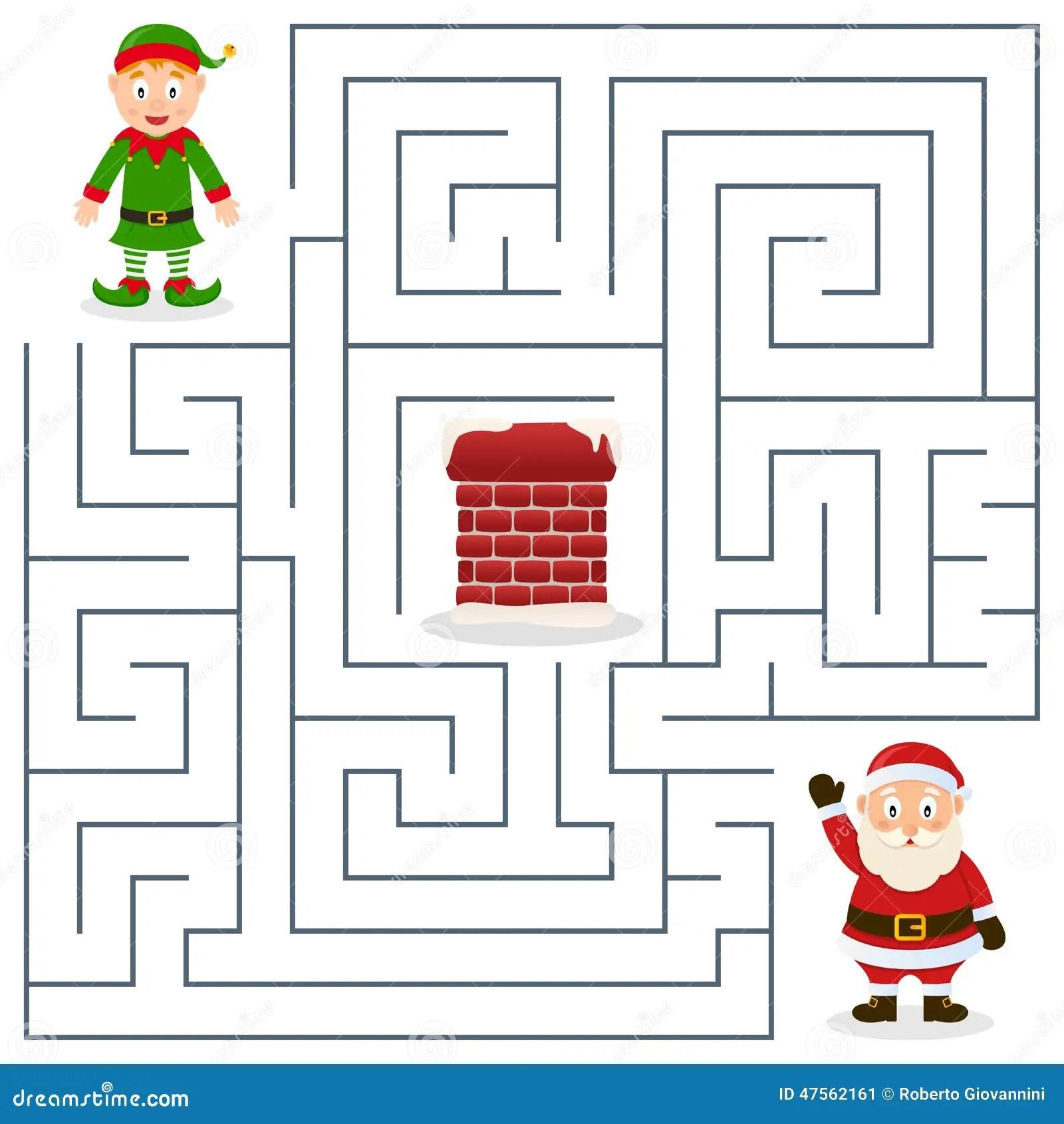 Santa Claus Y Laberinto Del Duende De La Navidad Para Los