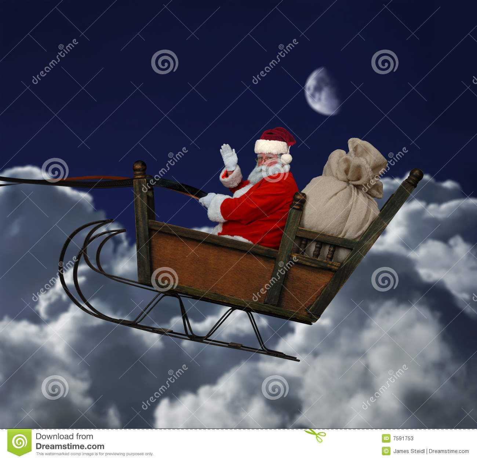 Santa In Flight Stock Photos Image 7591753