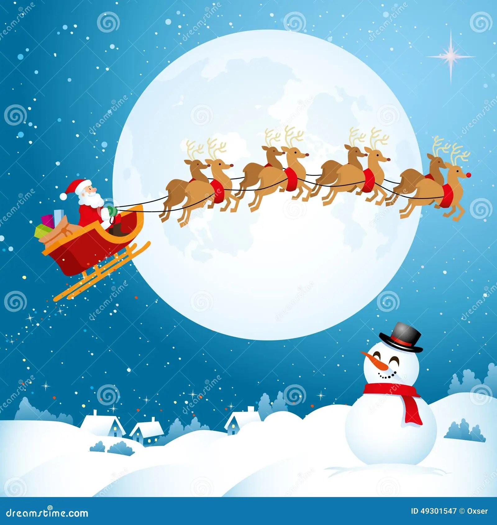 Santa Flying Across The Night Sky Stock Vector Image