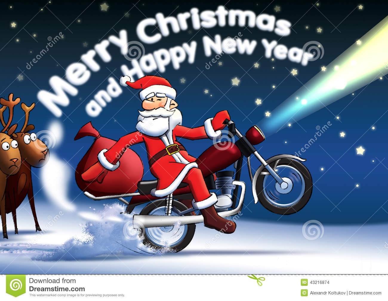 Santa New Year Cards Stock Illustration Image Of Claus