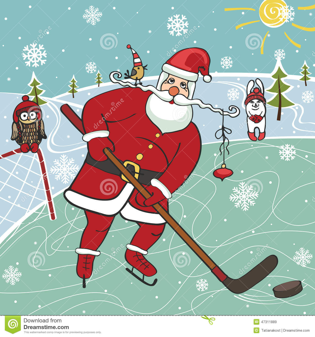Santa Playing Ice HockeyHumorous Illustrations Stock